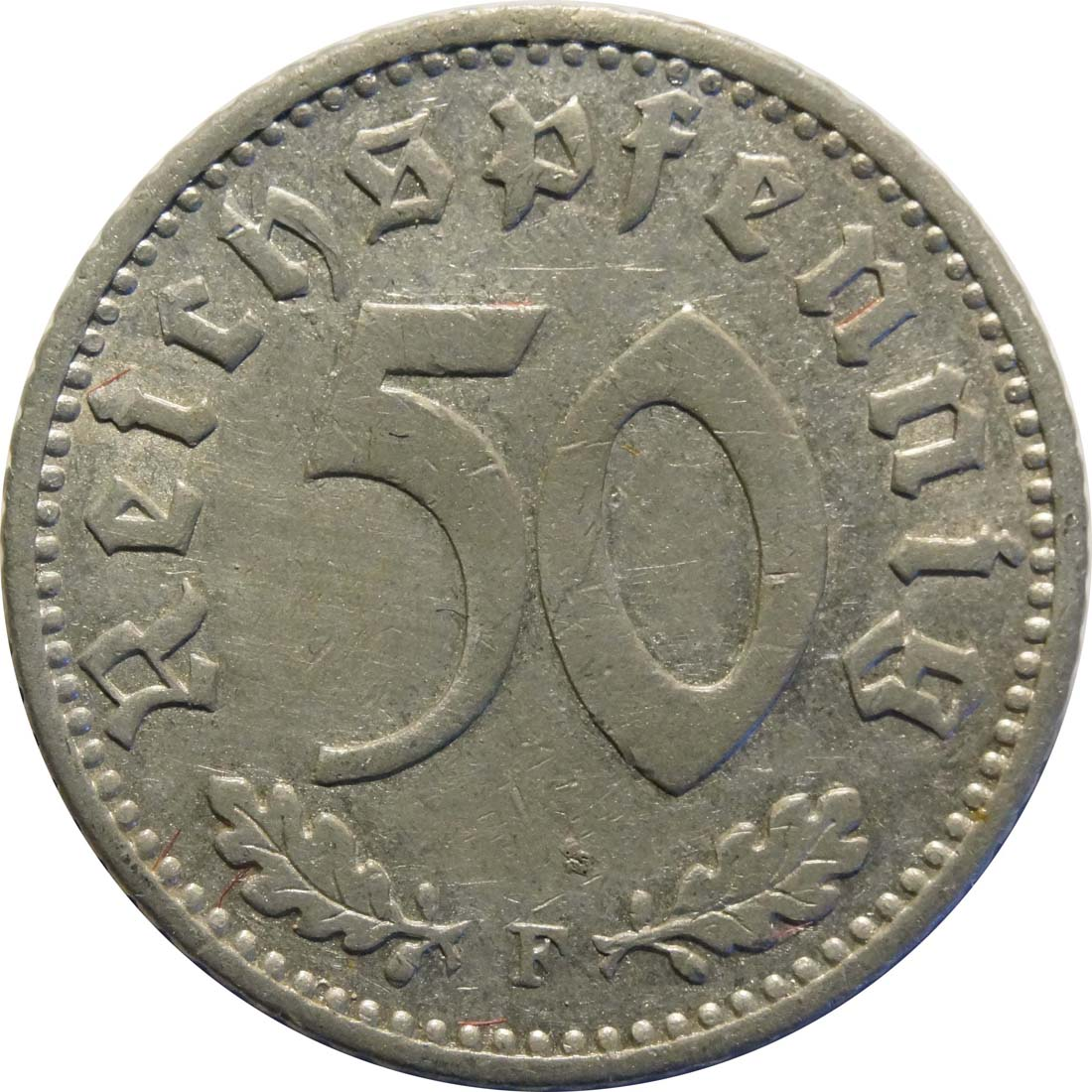 Vorderseite:Deutschland : 50 Reichspfennig Kursmünze  1942 ss/vz.
