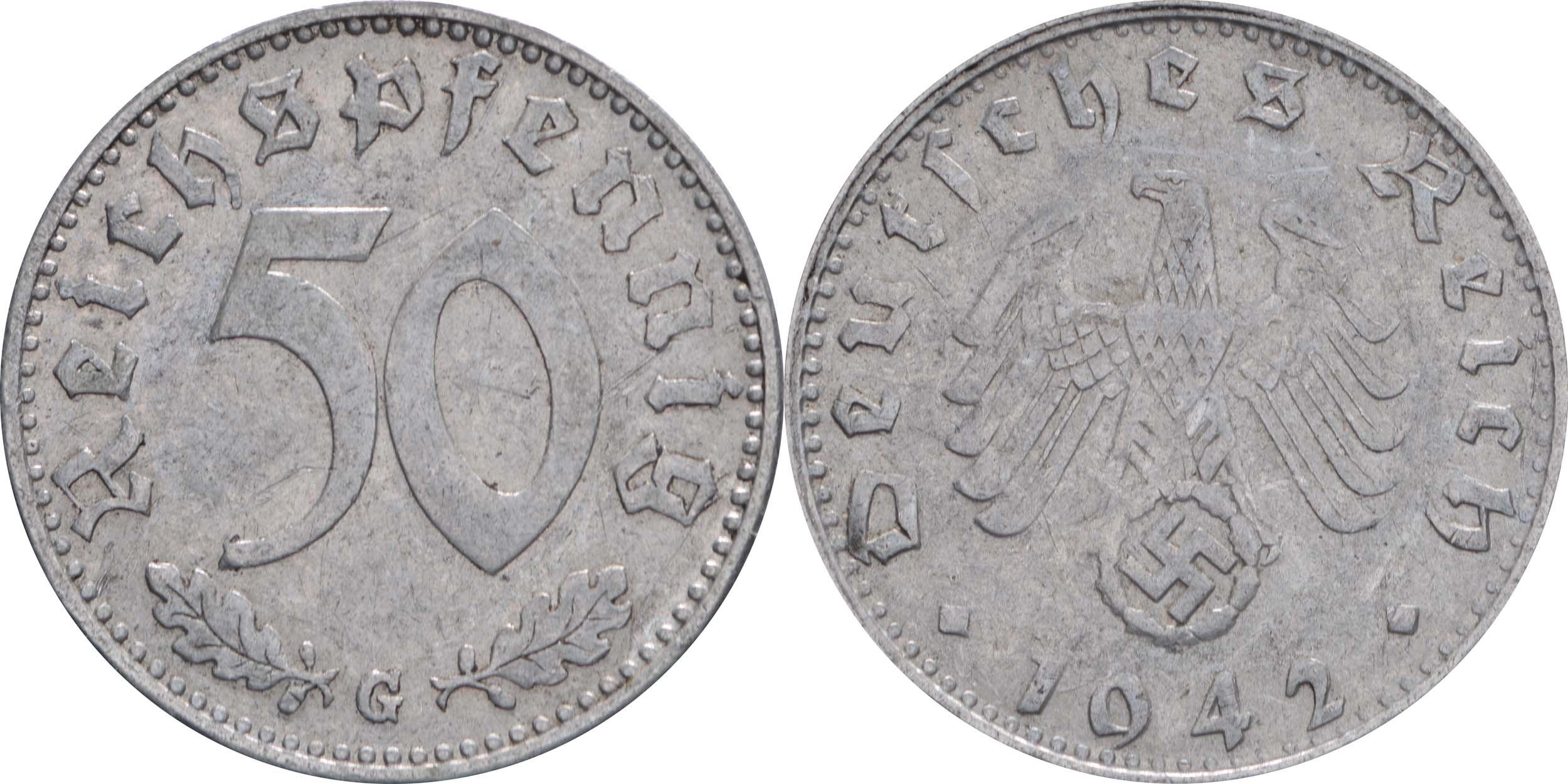 Deutschland : 50 Reichspfennig Kursmünze  1942 ss.