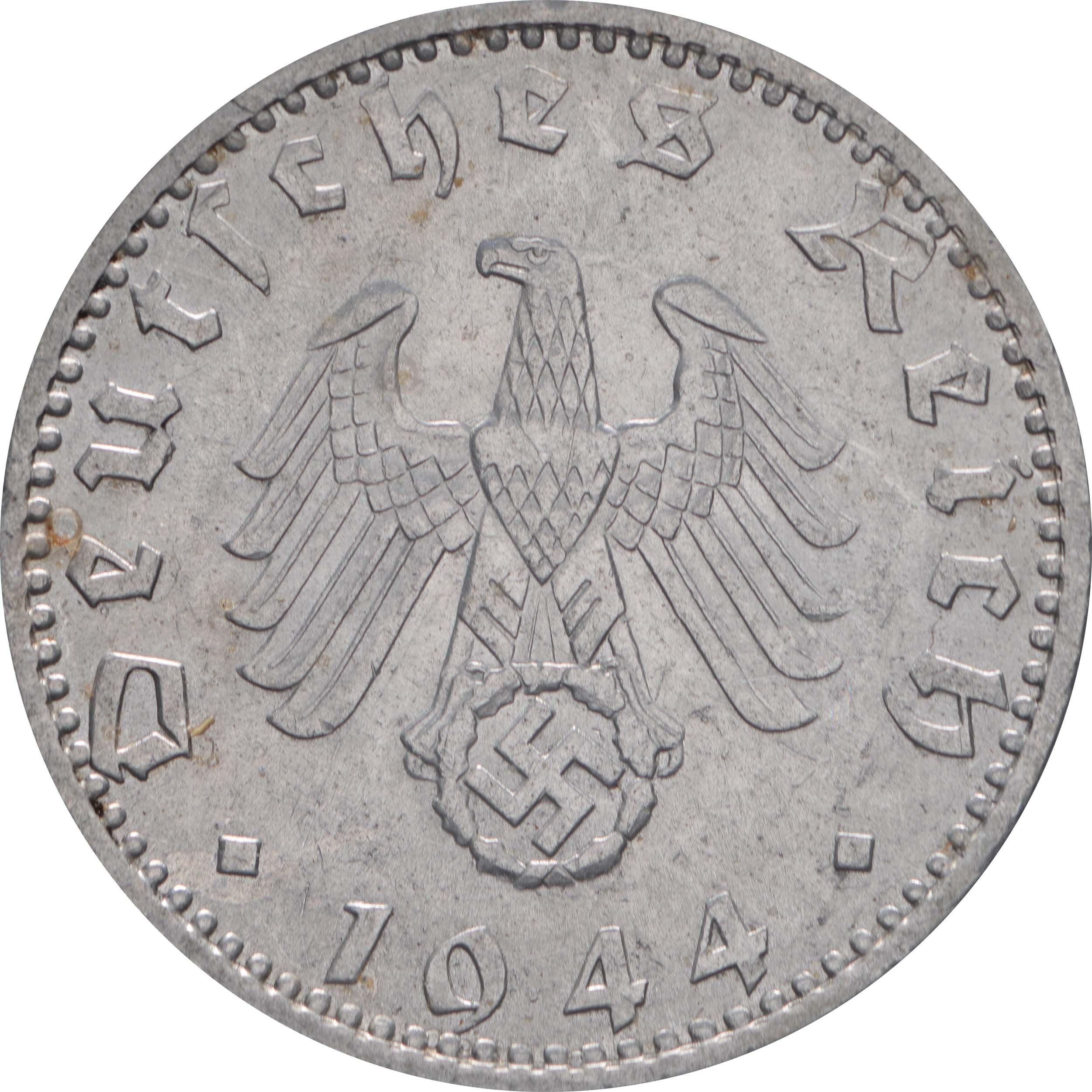 Rückseite:Deutschland : 50 Reichspfennig Kursmünze  1944 vz.
