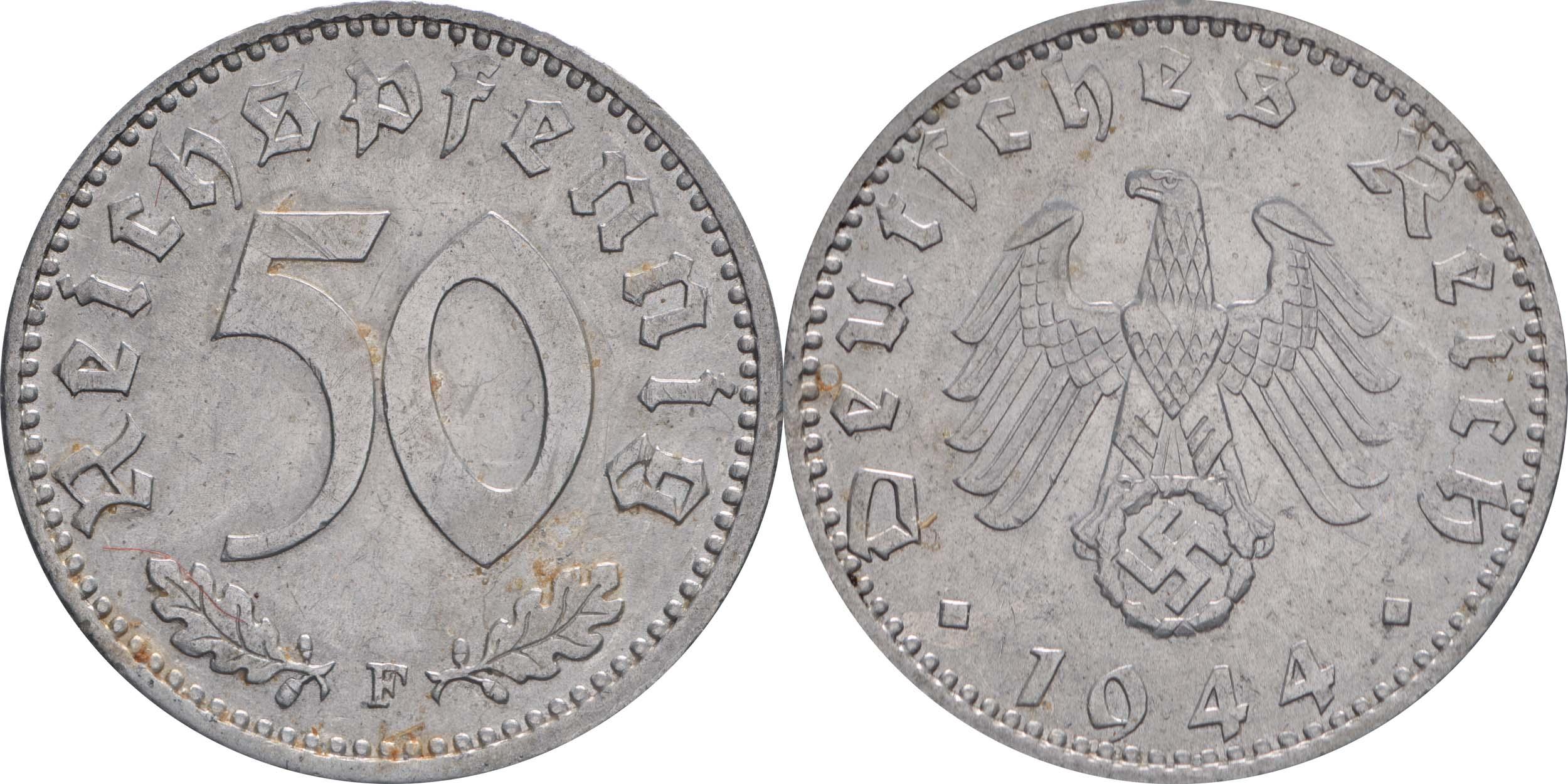 Deutschland : 50 Reichspfennig Kursmünze  1944 vz.