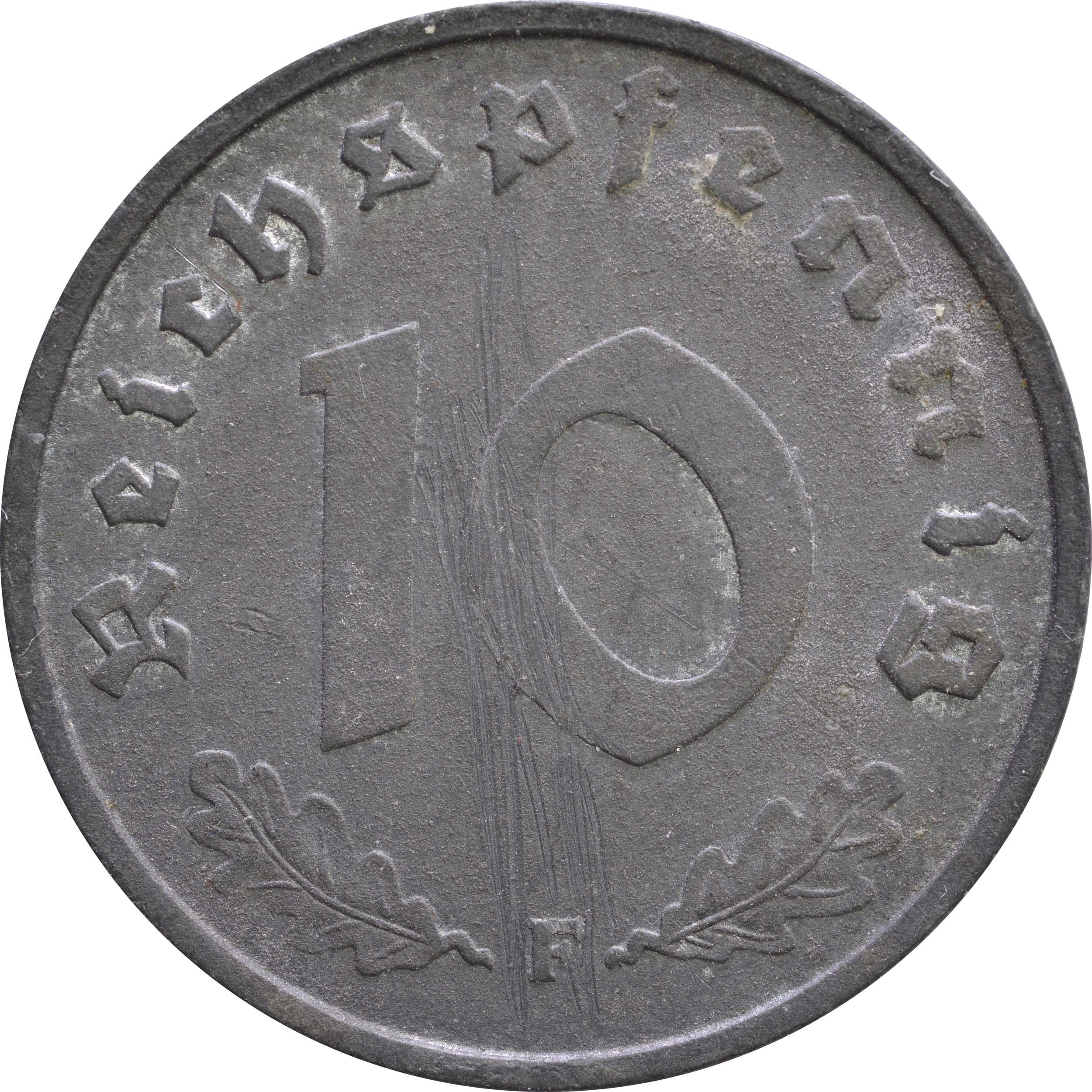 Vorderseite:Deutschland : 10 Reichspfennig Alliierte Besetzung  1945 ss.