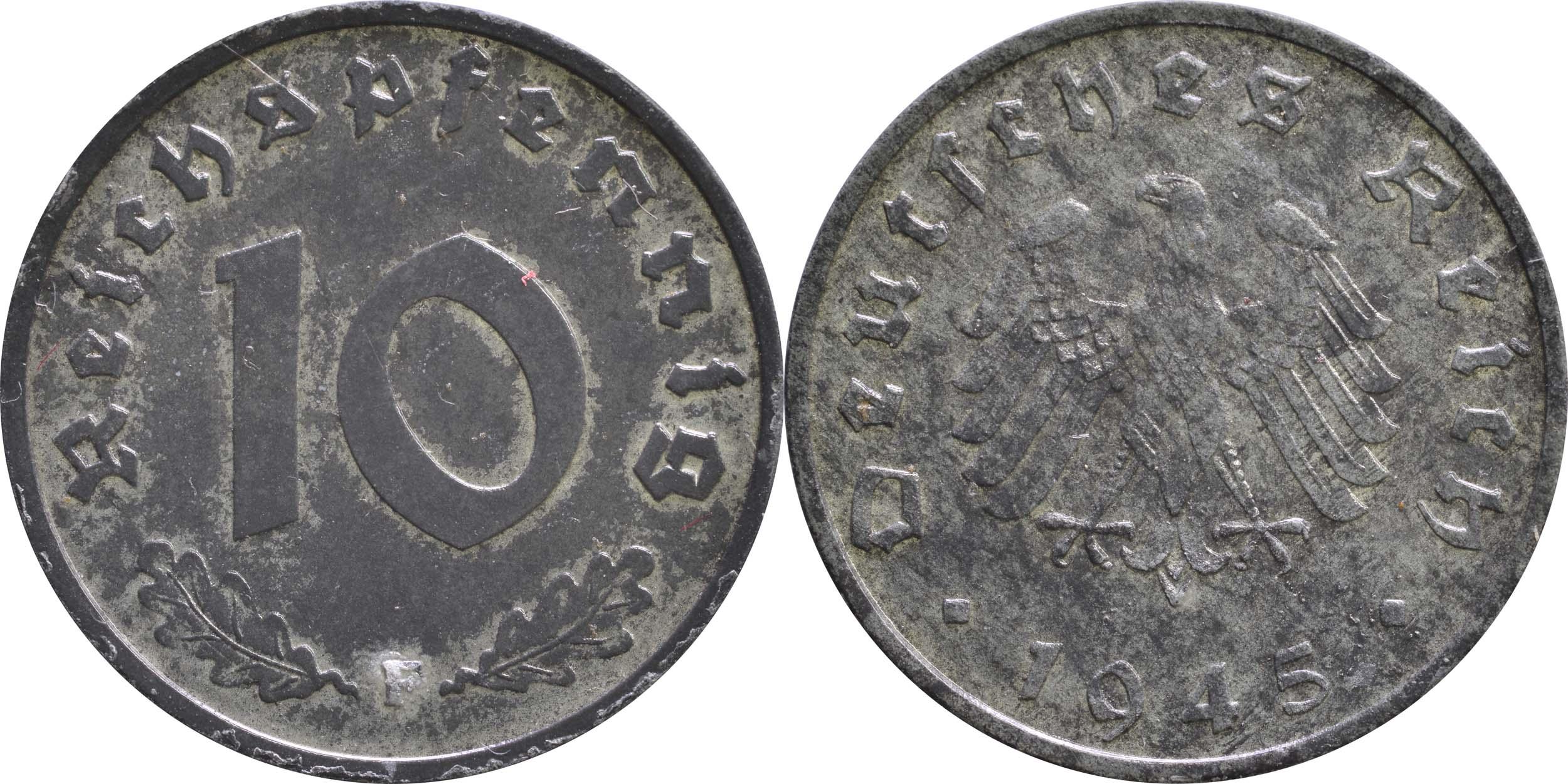Übersicht:Deutschland : 10 Reichspfennig Alliierte Besetzung zaponiert 1945 ss/vz.