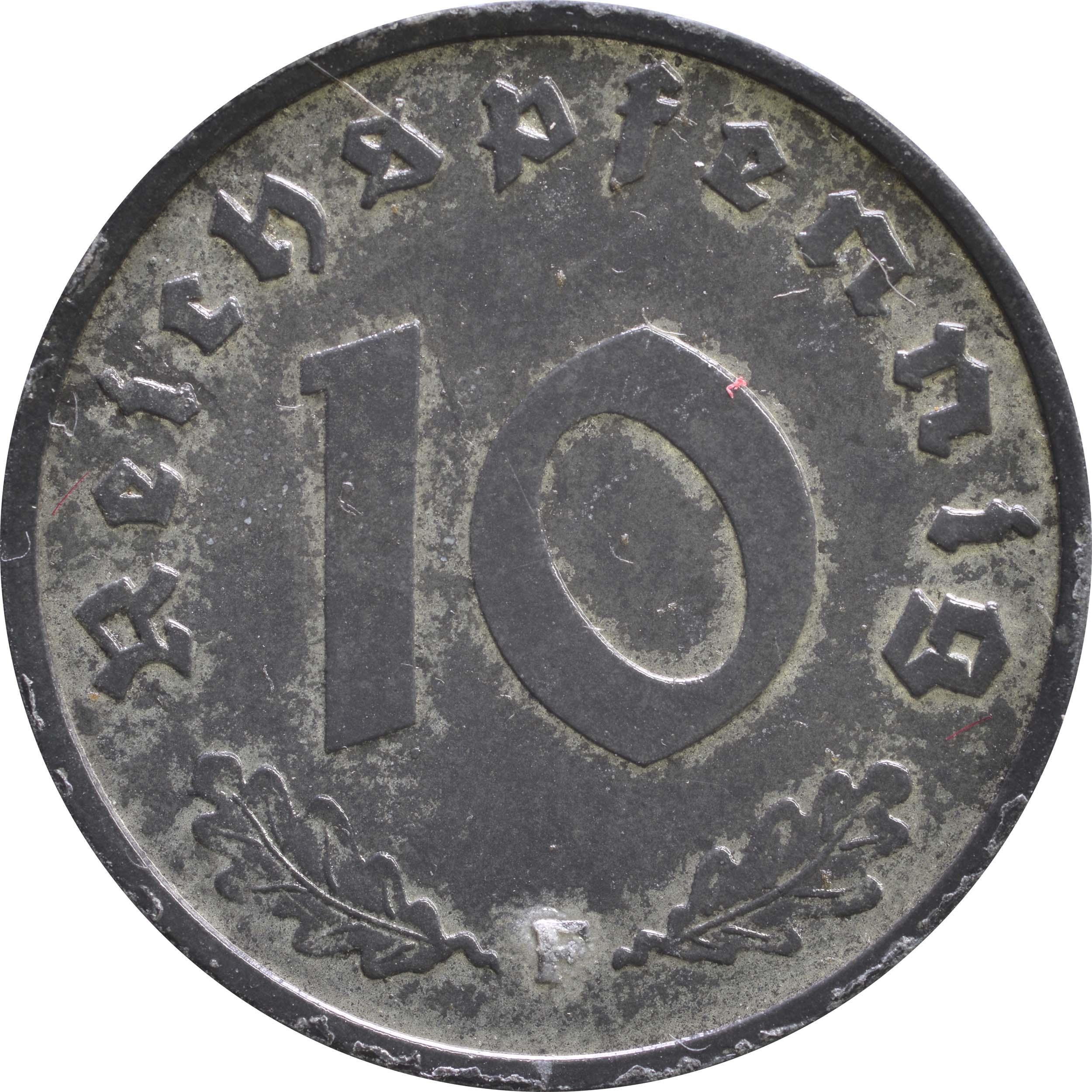 Vorderseite:Deutschland : 10 Reichspfennig Alliierte Besetzung zaponiert 1945 ss/vz.