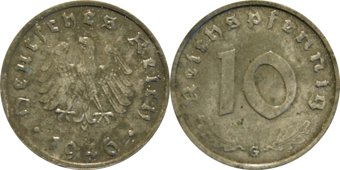 Übersicht:Deutschland : 10 Reichspfennig Alliierte Besetzung zaponiert 1946 vz.