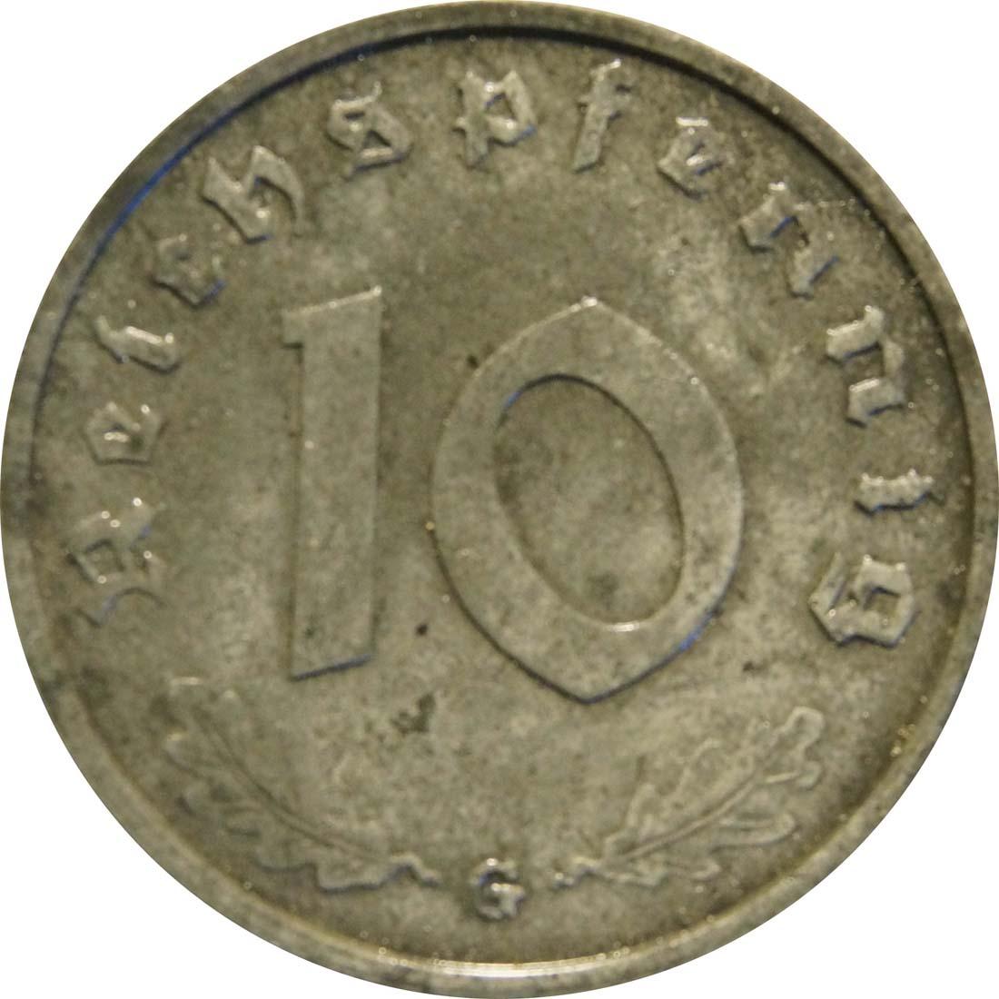 Vorderseite:Deutschland : 10 Reichspfennig Alliierte Besetzung zaponiert 1946 vz.