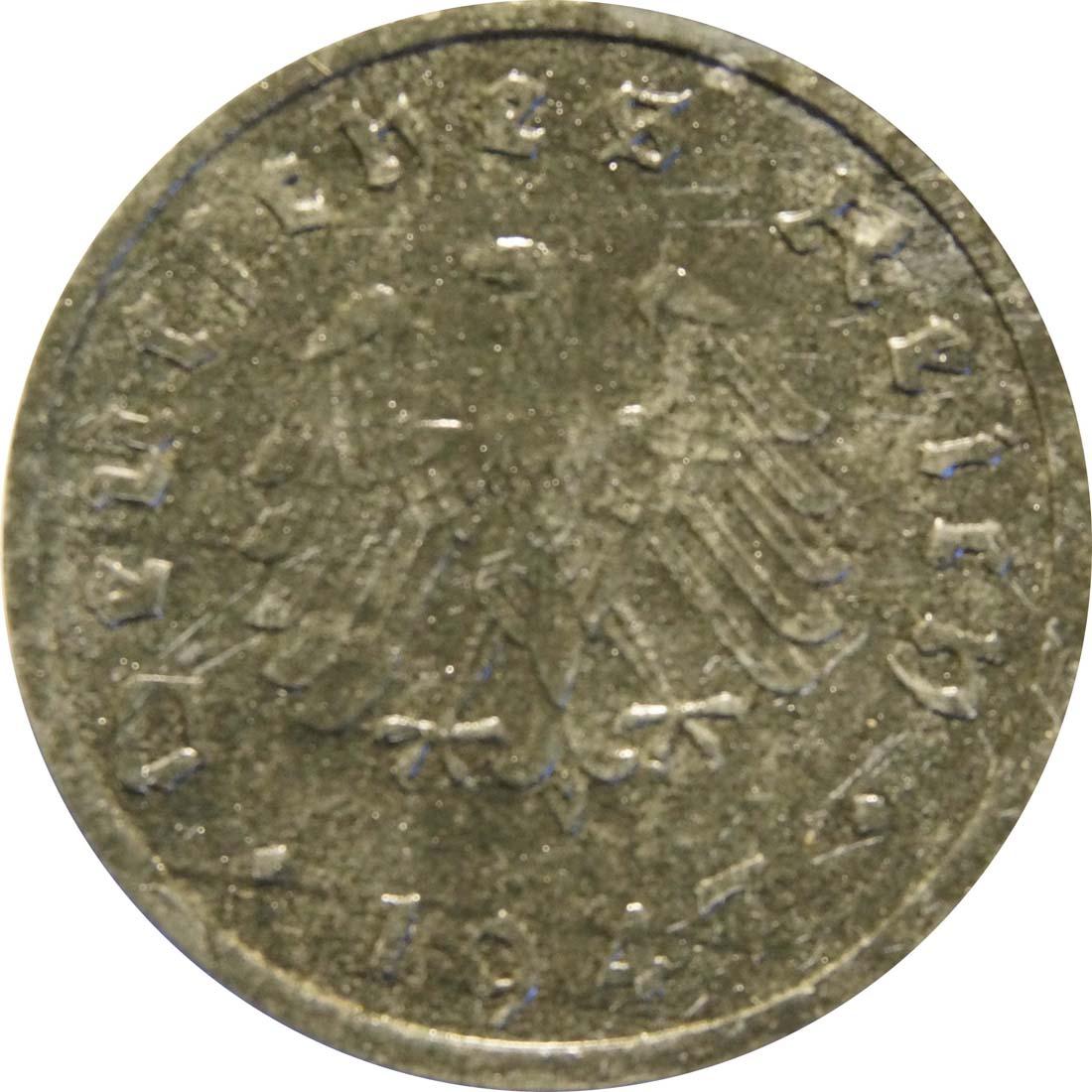Rückseite:Deutschland : 10 Reichpfennig Alliierte Besetzung zaponiert 1947 ss.