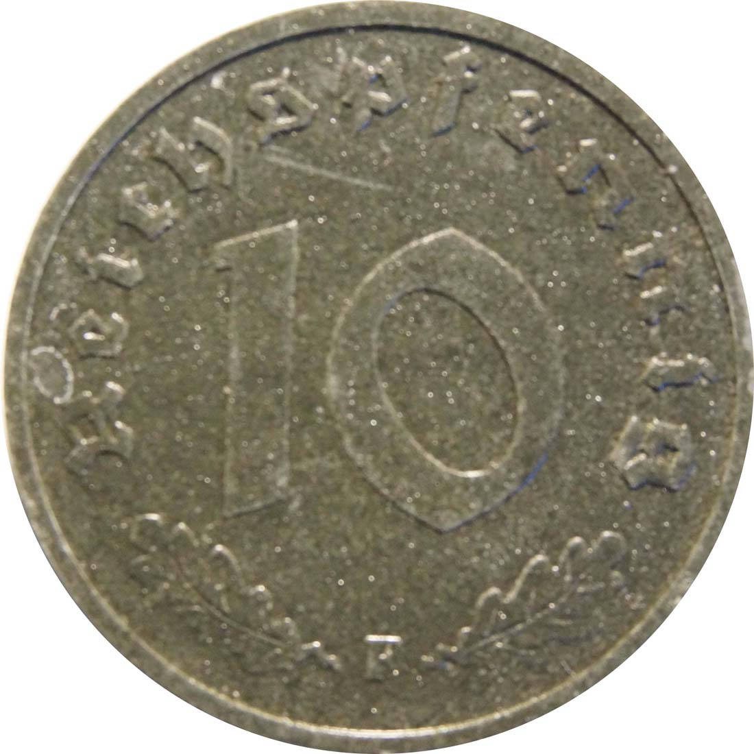 Vorderseite:Deutschland : 10 Reichpfennig Alliierte Besetzung zaponiert 1947 ss.