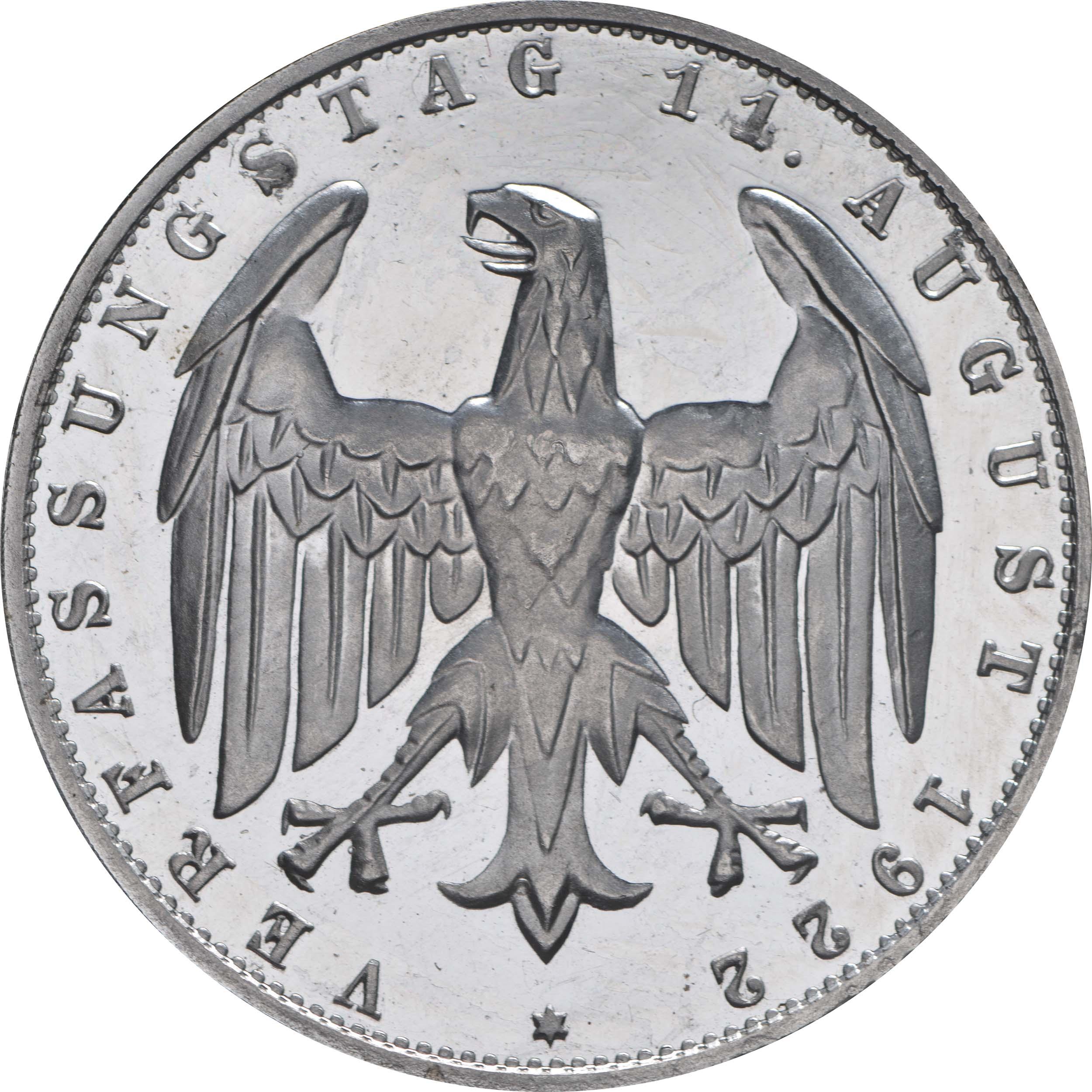 Rückseite:Deutschland : 3 Mark Verfassung winz. Kratzer, -selten- 1922 PP