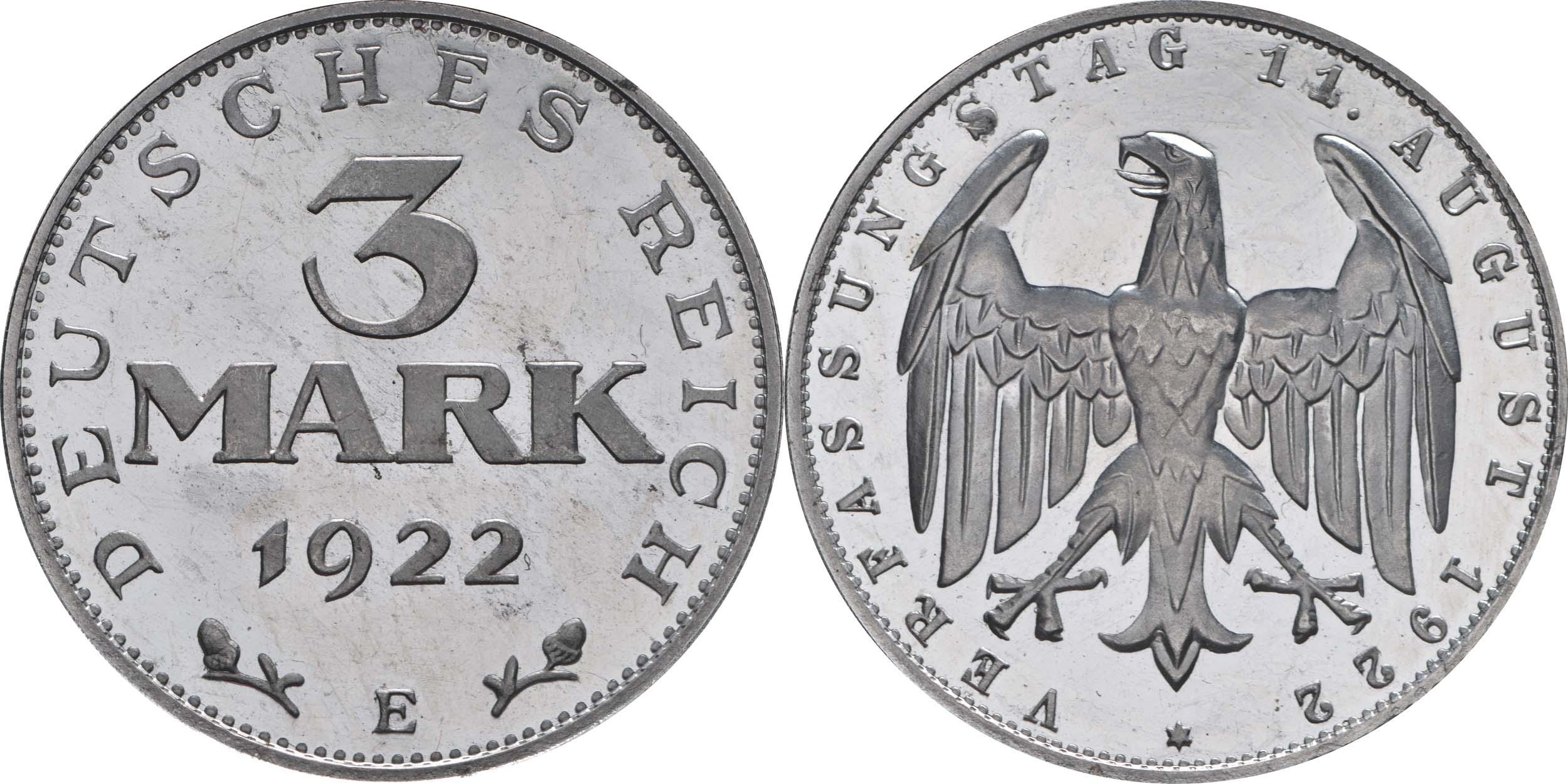 Übersicht:Deutschland : 3 Mark Verfassung winz. Kratzer, -selten- 1922 PP