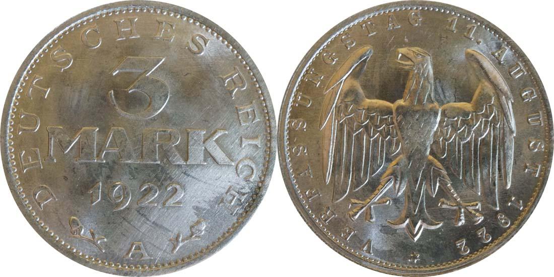 Deutschland : 3 Mark Verfassung  1922 Stgl.