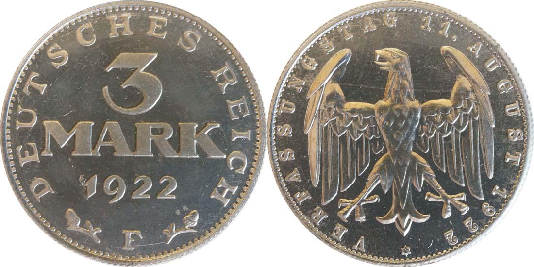 Übersicht:Deutschland : 3 Mark Verfassung  1922 PP