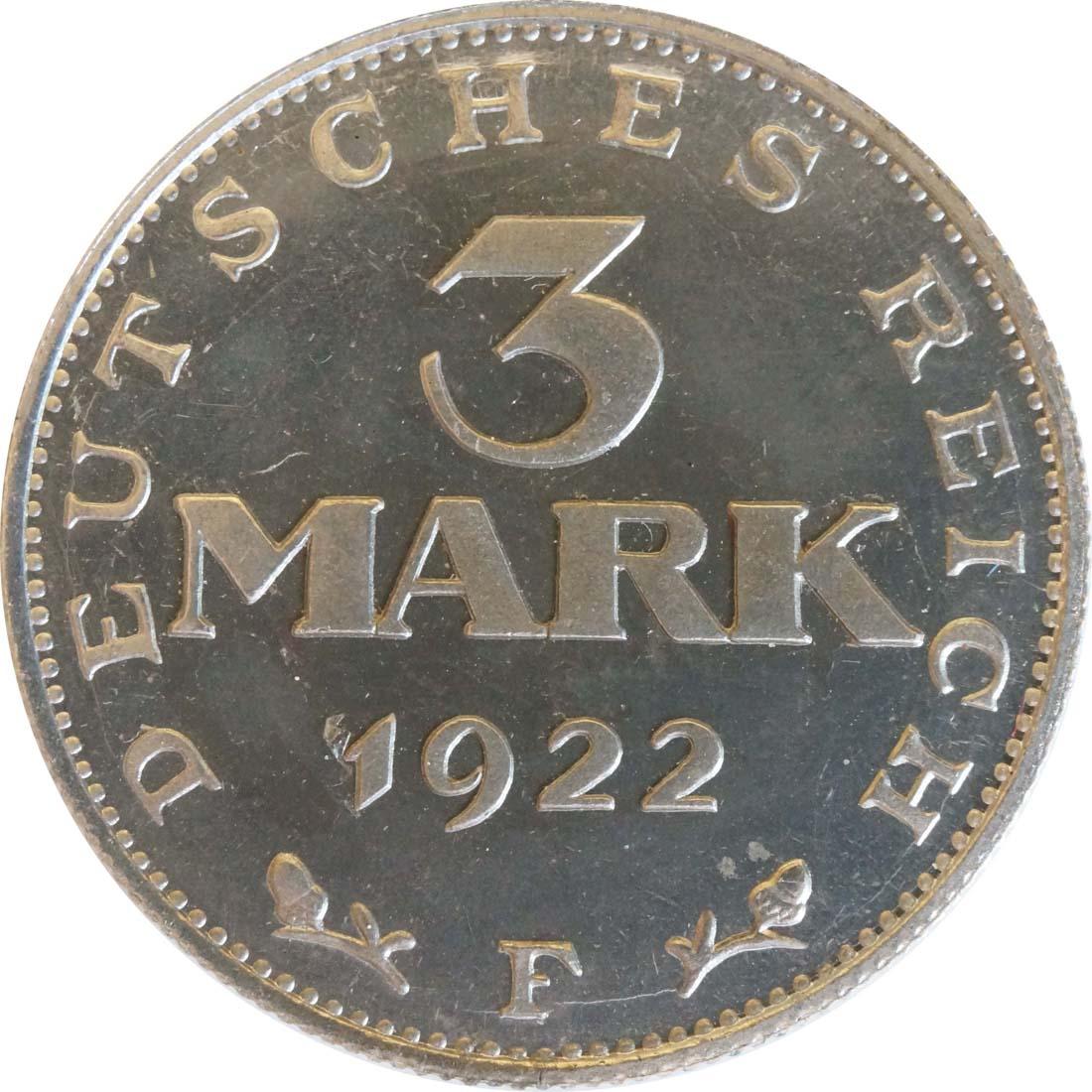 Vorderseite:Deutschland : 3 Mark Verfassung  1922 PP