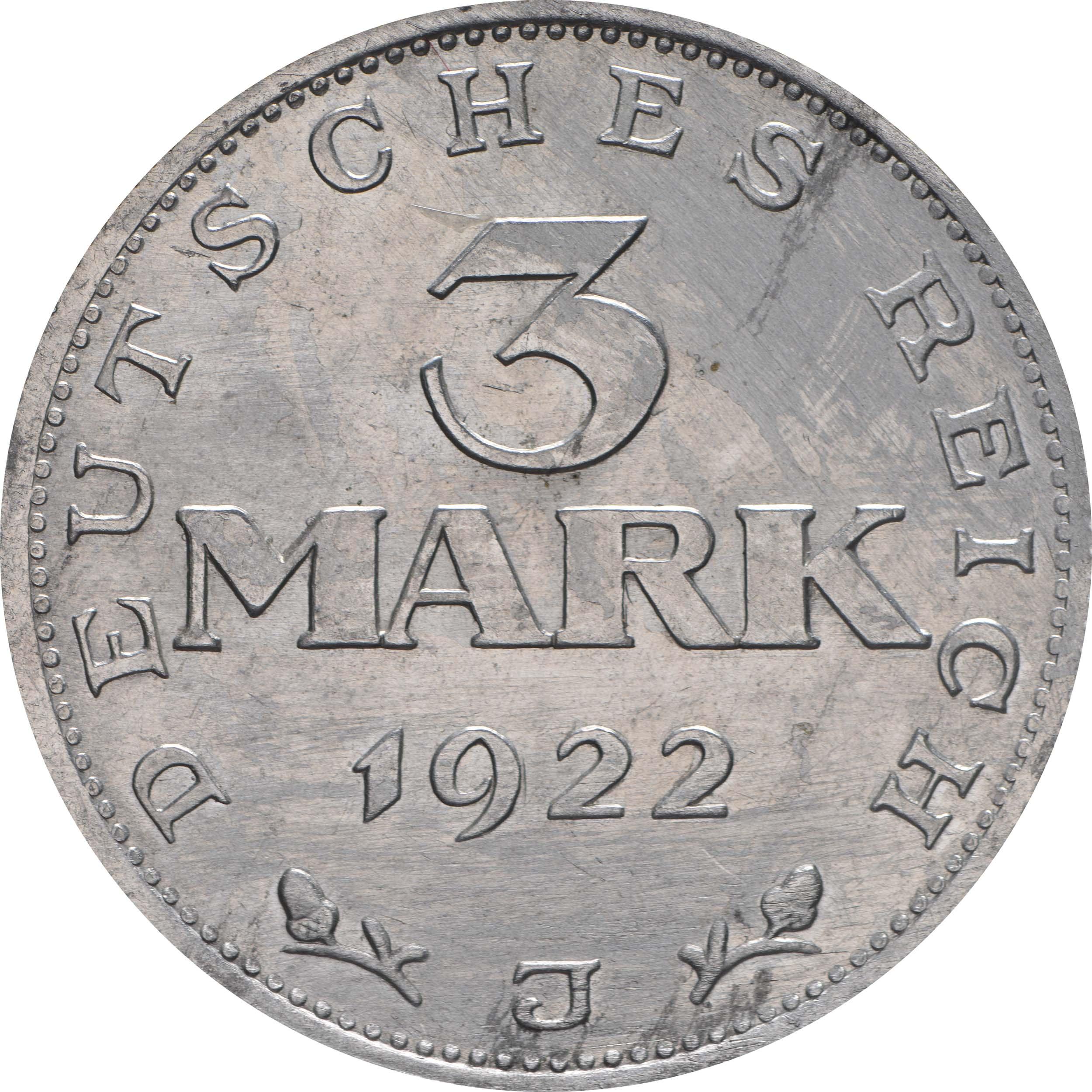 Vorderseite :Deutschland : 3 Mark Verfassung  1922 vz/Stgl.