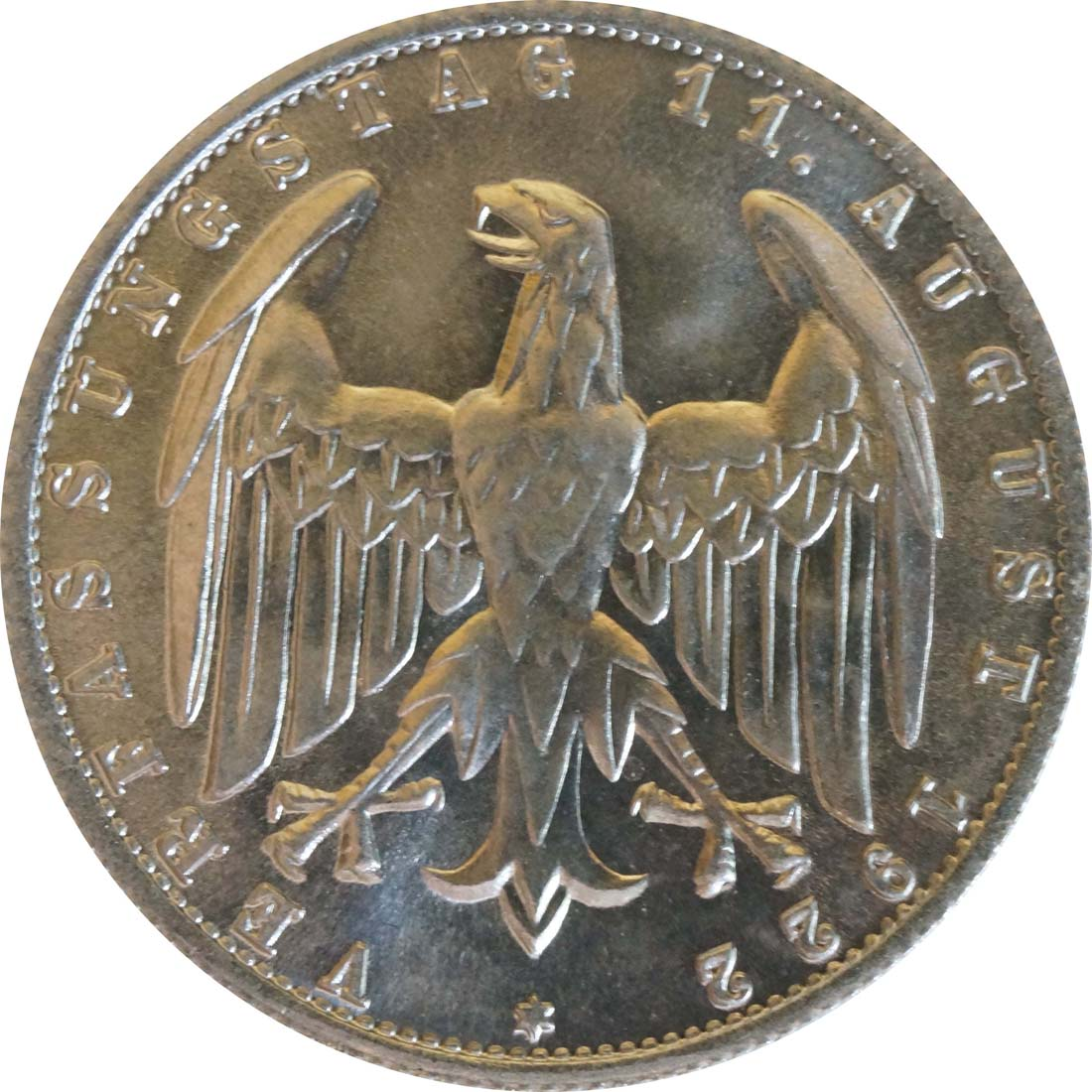 Rückseite :Deutschland : 3 Mark Verfassung -selten- 1922 Stgl.