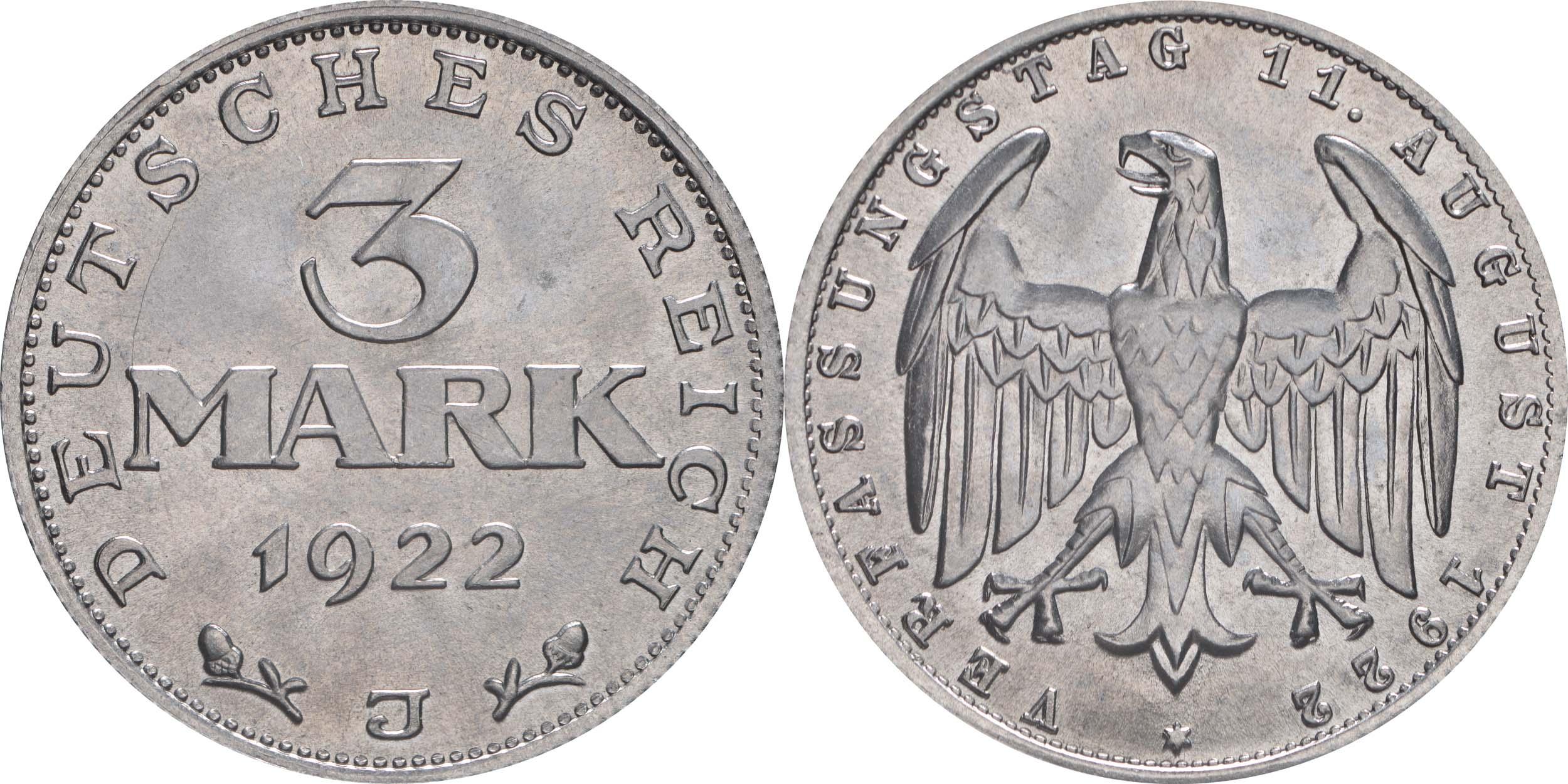Deutschland : 3 Mark Verfassung -selten- 1922 Stgl.