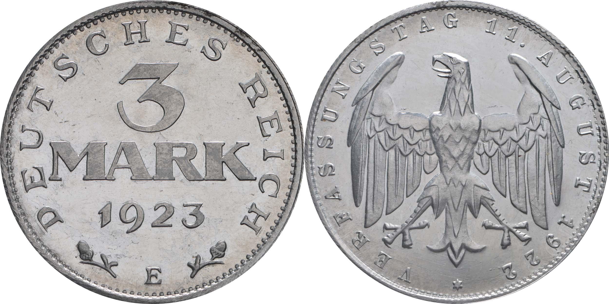 Lieferumfang:Deutschland : 3 Mark Verfassung ber. 1922 PP