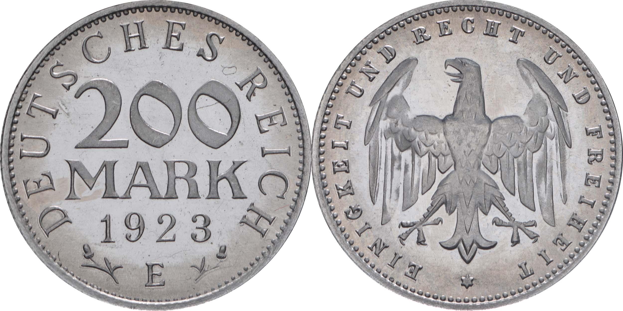 Deutschland : 200 Mark Kursmünze  1923 PP
