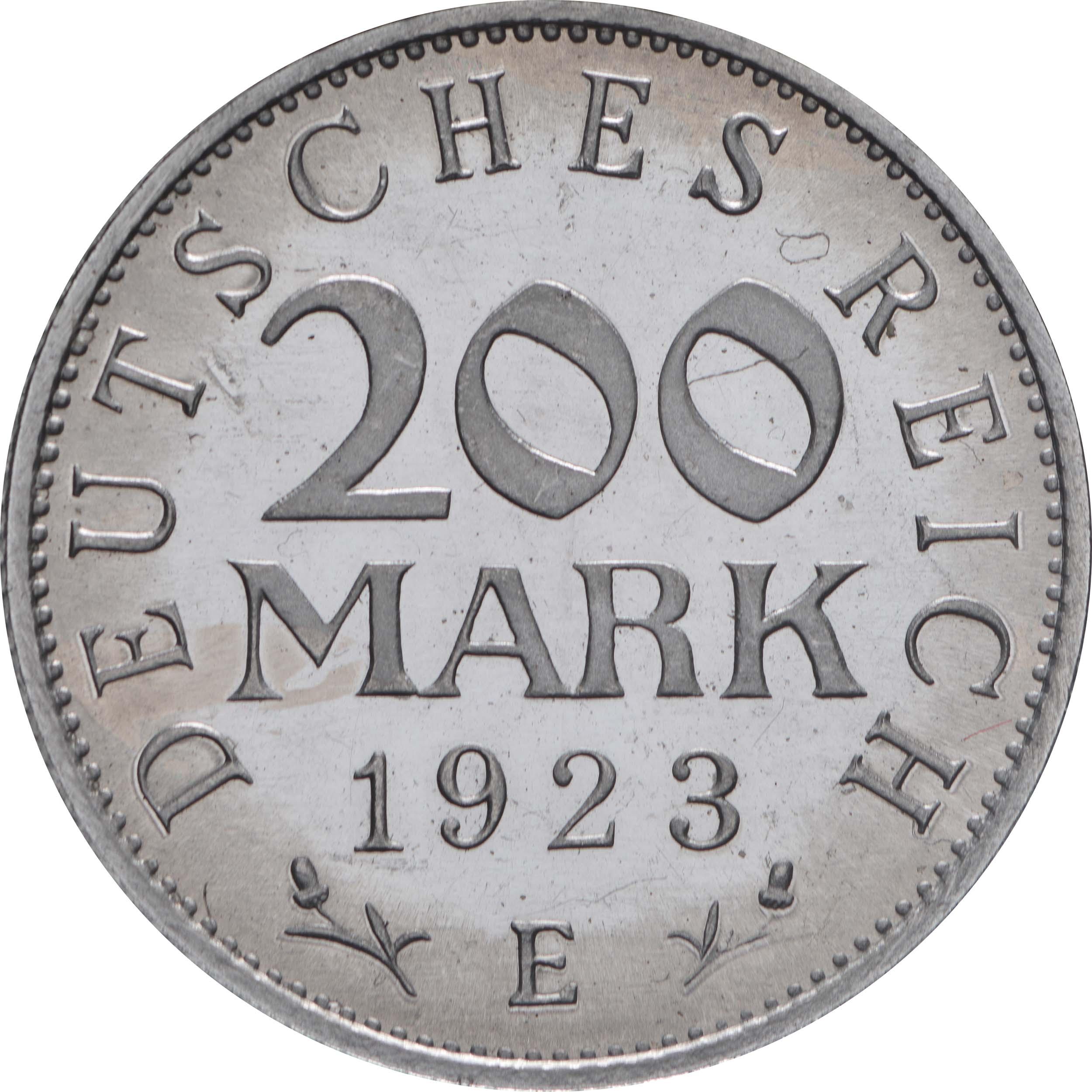 Vorderseite:Deutschland : 200 Mark Kursmünze  1923 PP