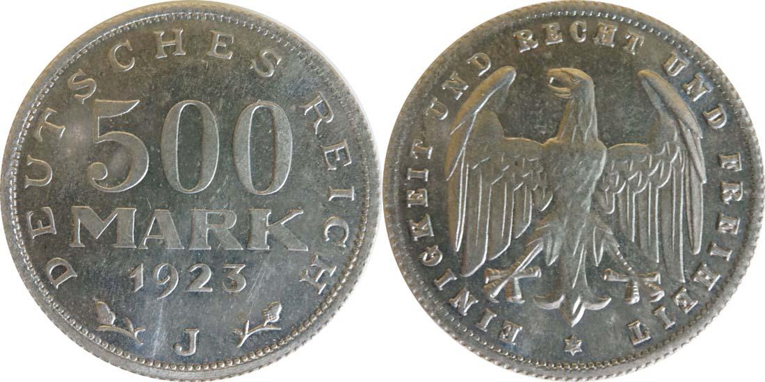 Übersicht:Deutschland : 500 Mark Kursmünze -selten- 1923 Stgl.