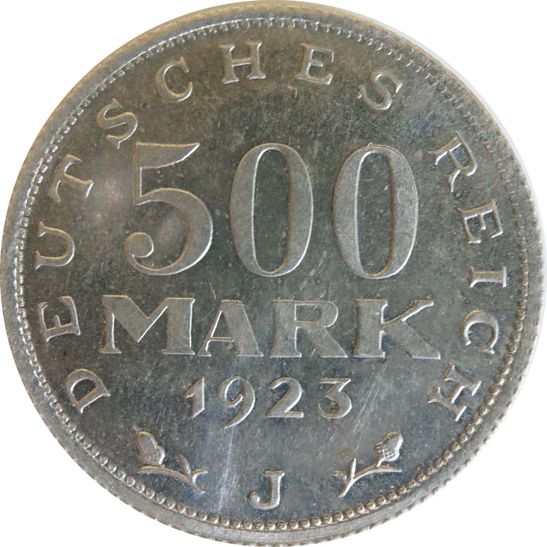 Vorderseite:Deutschland : 500 Mark Kursmünze -selten- 1923 Stgl.
