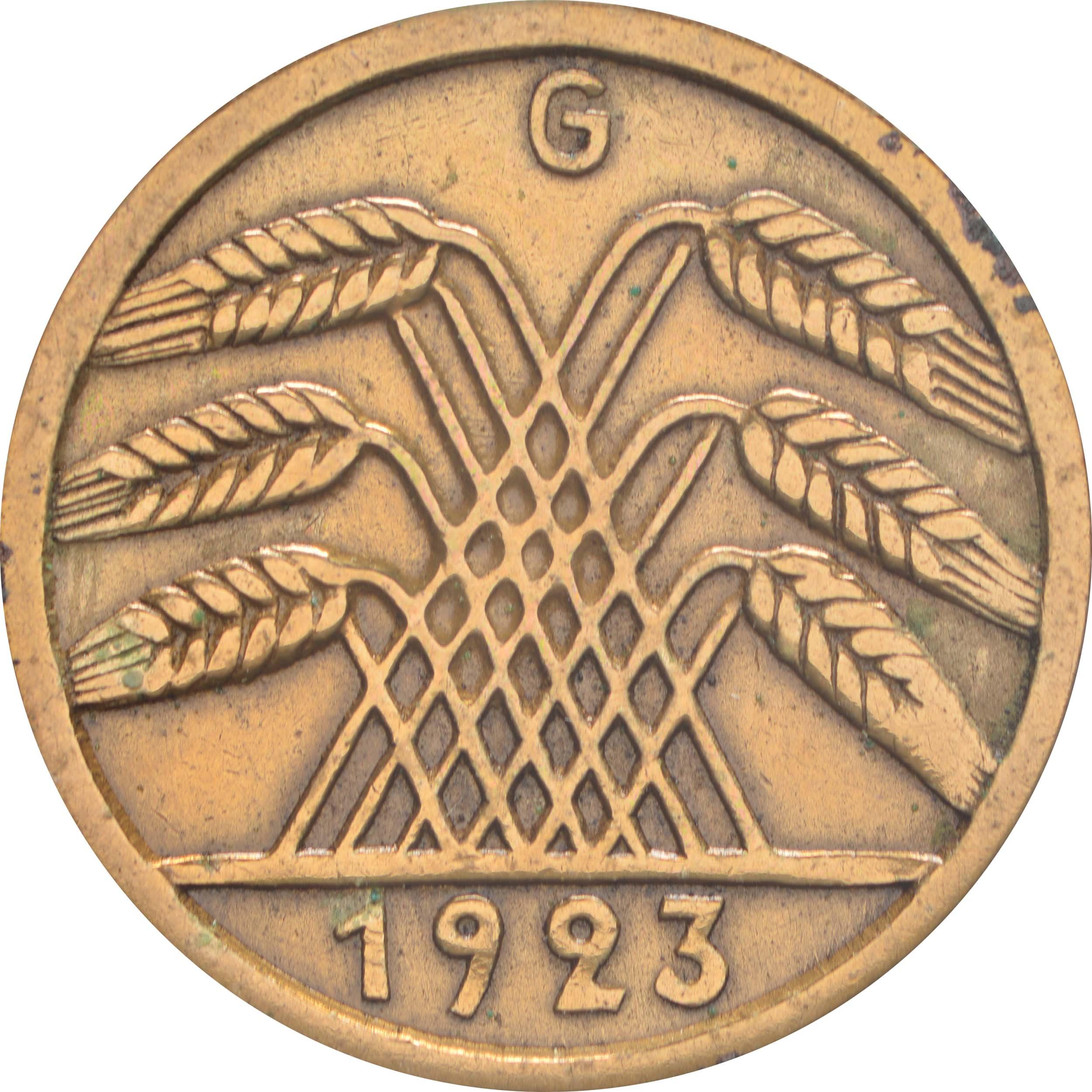 Rückseite:Deutschland : 5 Rentenpfennig Kursmünze -selten- 1923 ss.