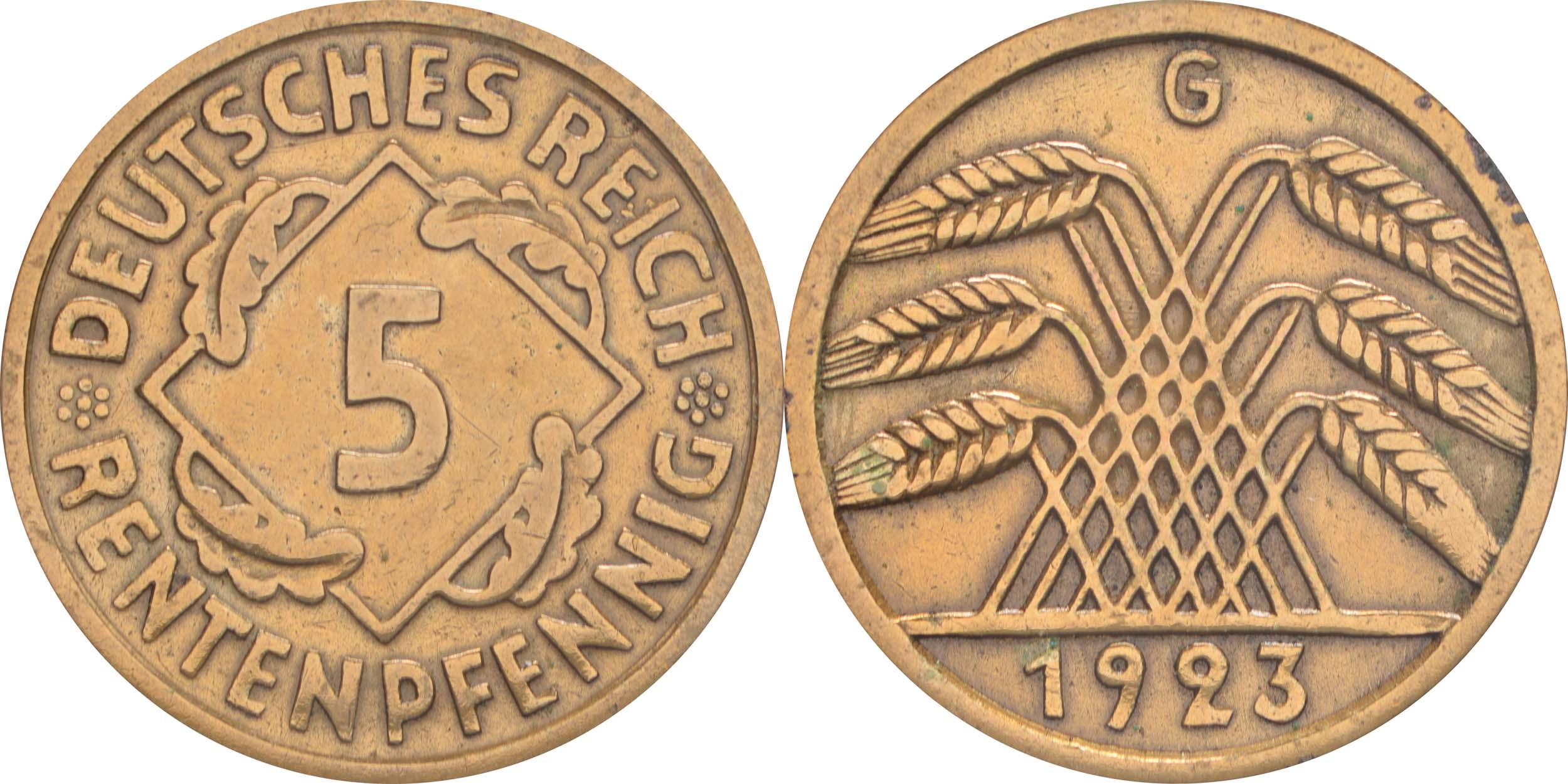 Übersicht:Deutschland : 5 Rentenpfennig Kursmünze -selten- 1923 ss.