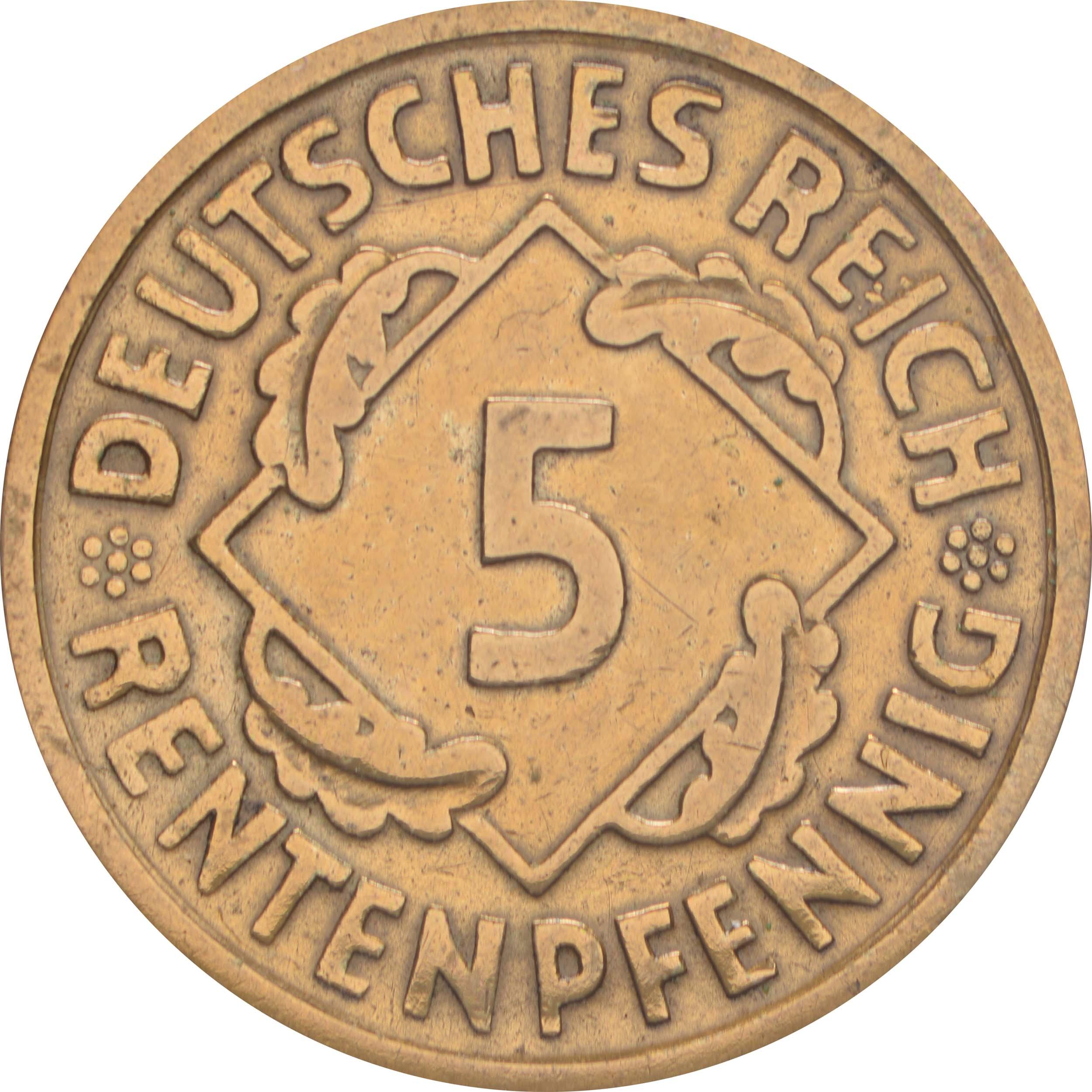 Vorderseite:Deutschland : 5 Rentenpfennig Kursmünze -selten- 1923 ss.