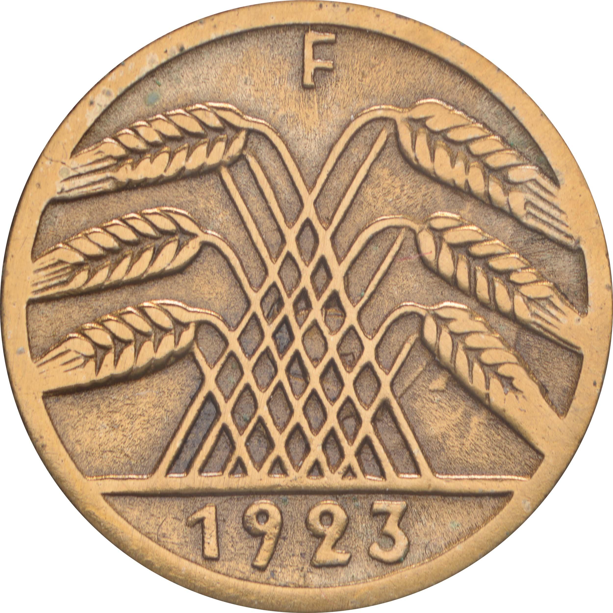 Rückseite :Deutschland : 5 Rentenpfennig Kursmünze  1923 ss/vz.