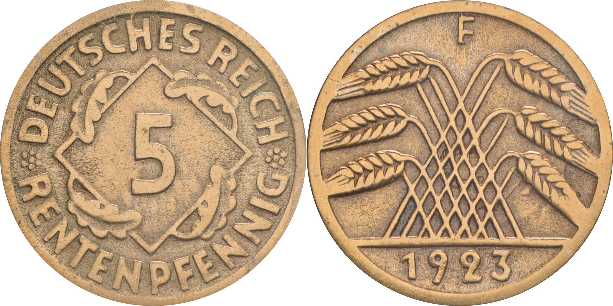 Deutschland : 5 Rentenpfennig Kursmünze  1923 ss/vz.