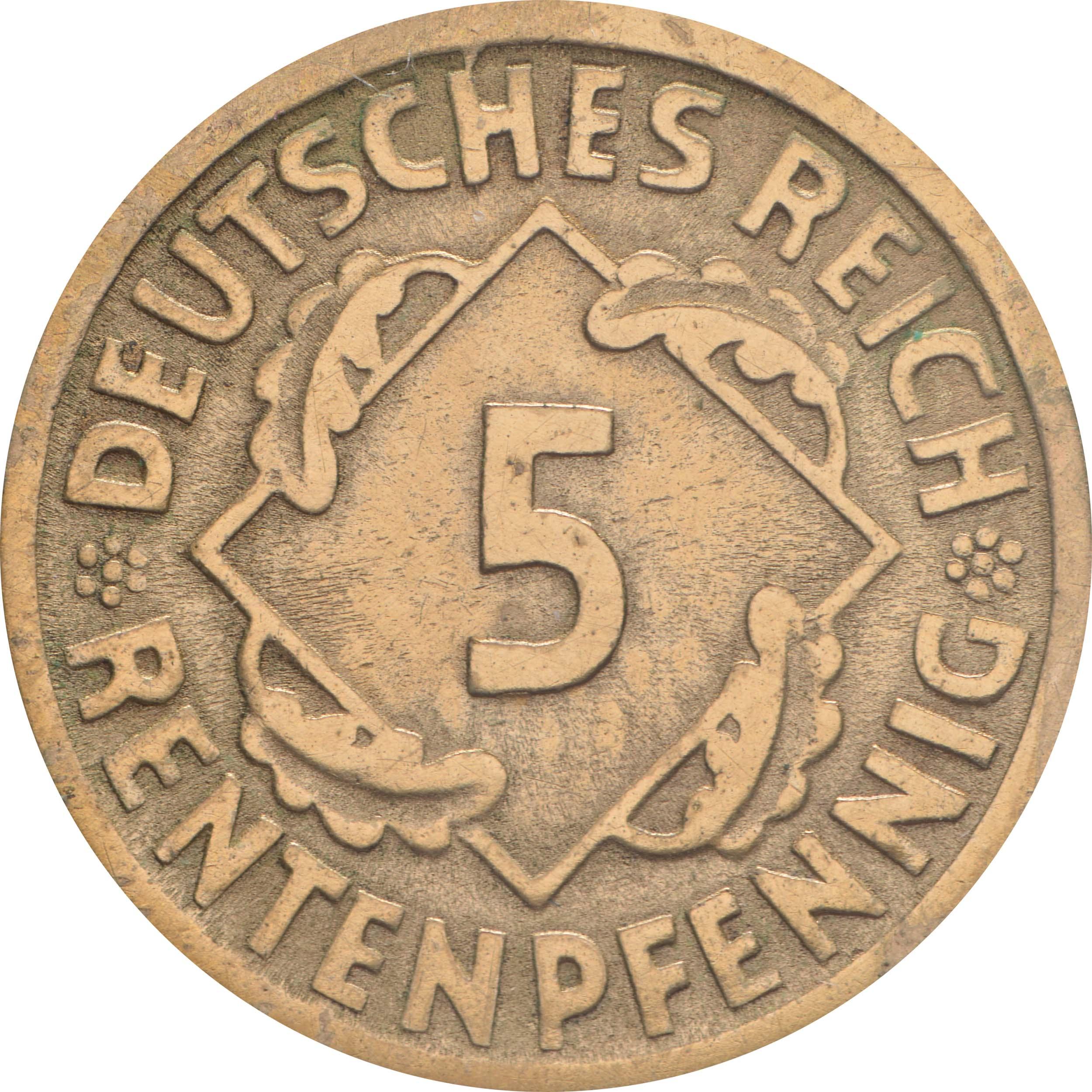 Vorderseite:Deutschland : 5 Rentenpfennig Kursmünze  1923 ss/vz.