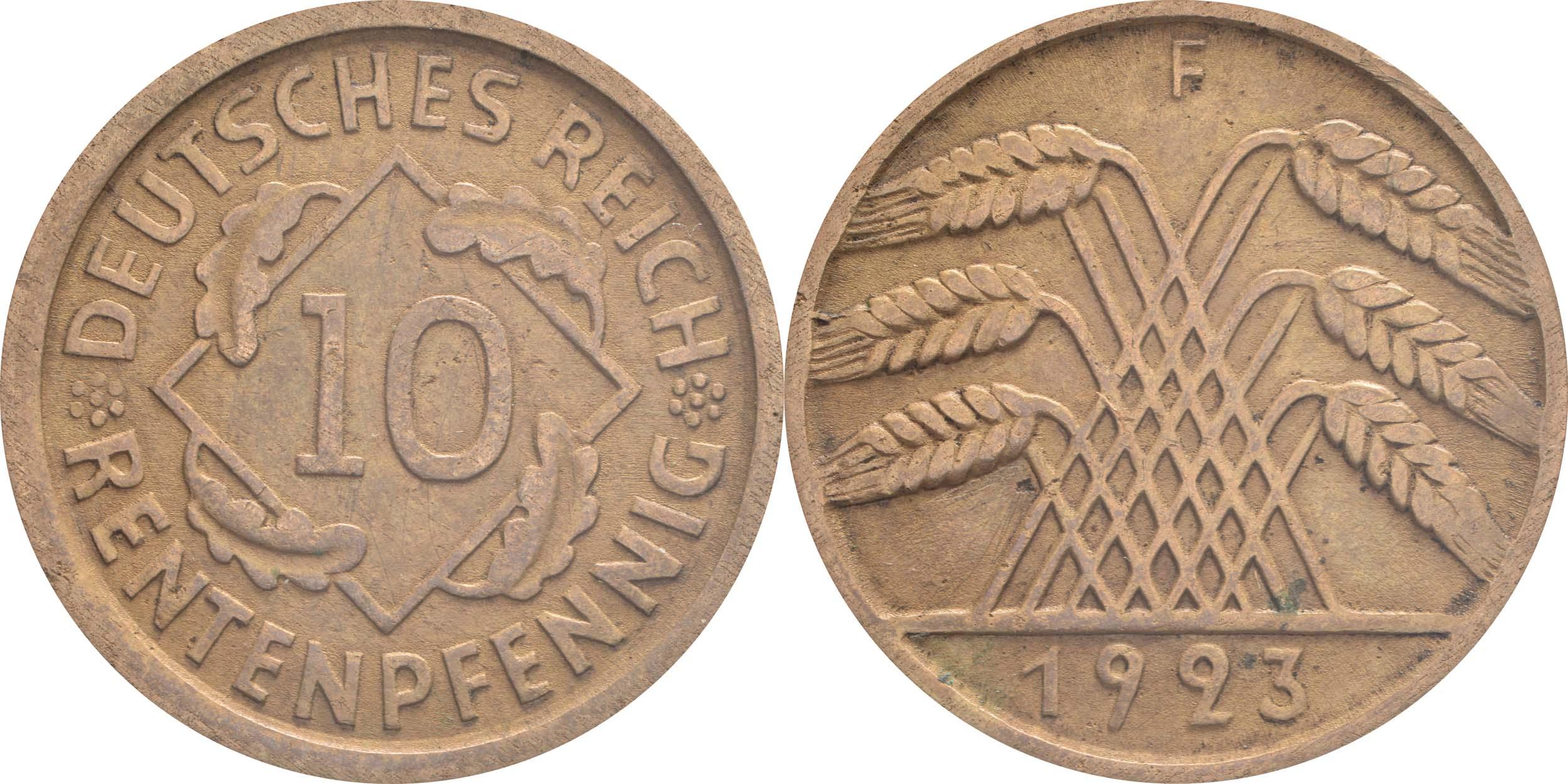Übersicht:Deutschland : 10 Rentenpfennig Kursmünze  1923 ss/vz.