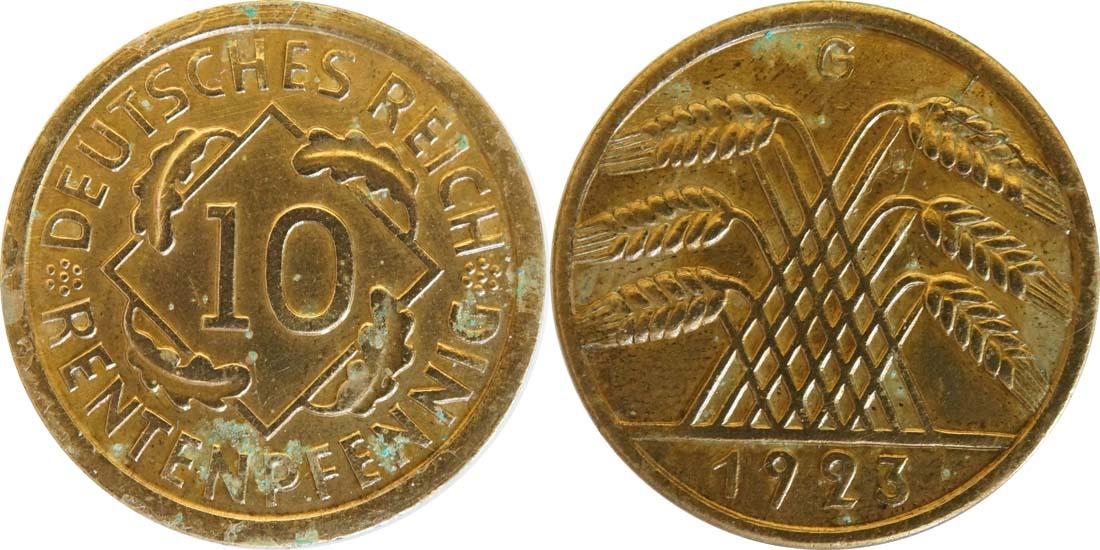 Deutschland : 10 Rentenpfennig Kursmünze  1923 ss/vz.