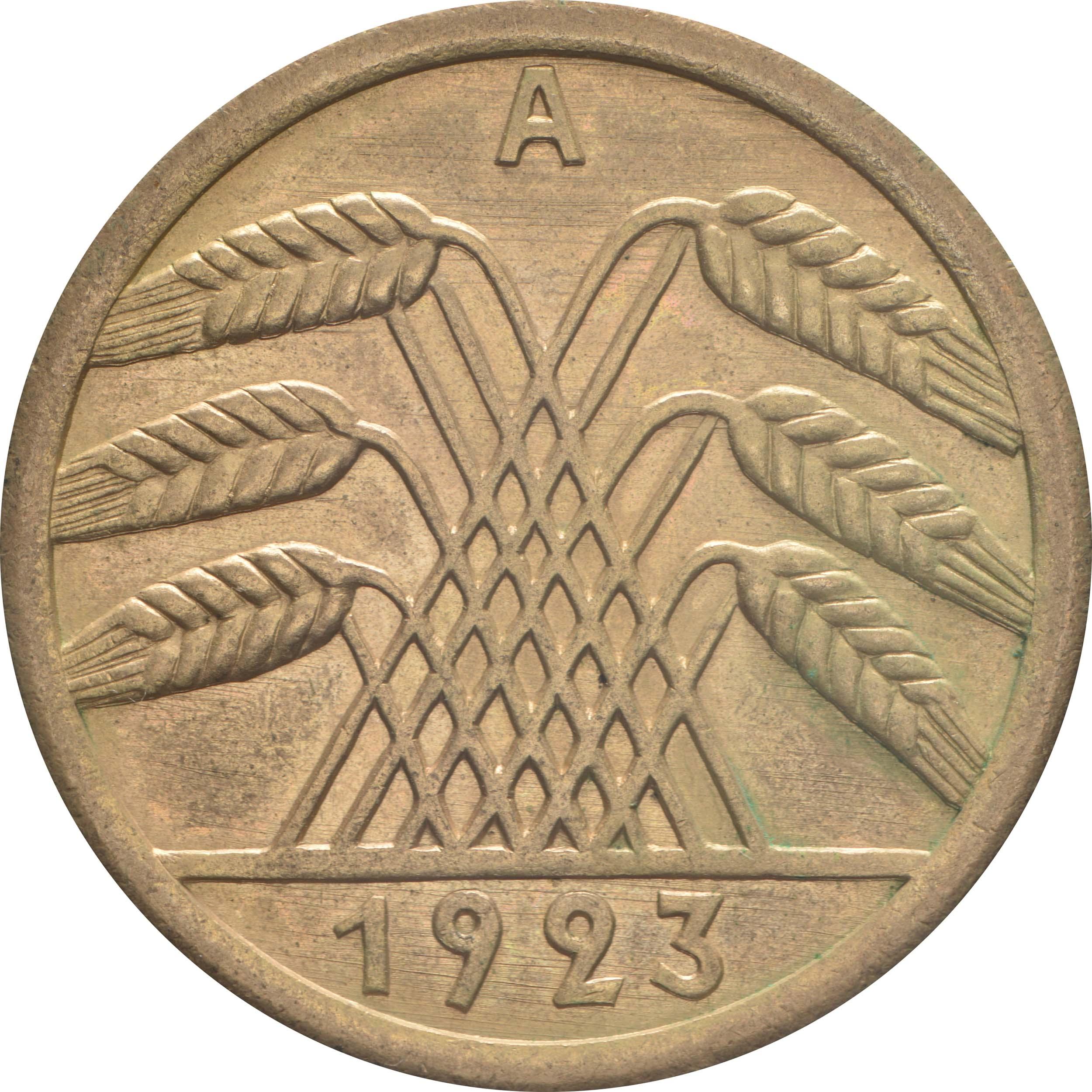 Rückseite:Deutschland : 50 Rentenpfennig Kursmünze  1923 vz/Stgl.