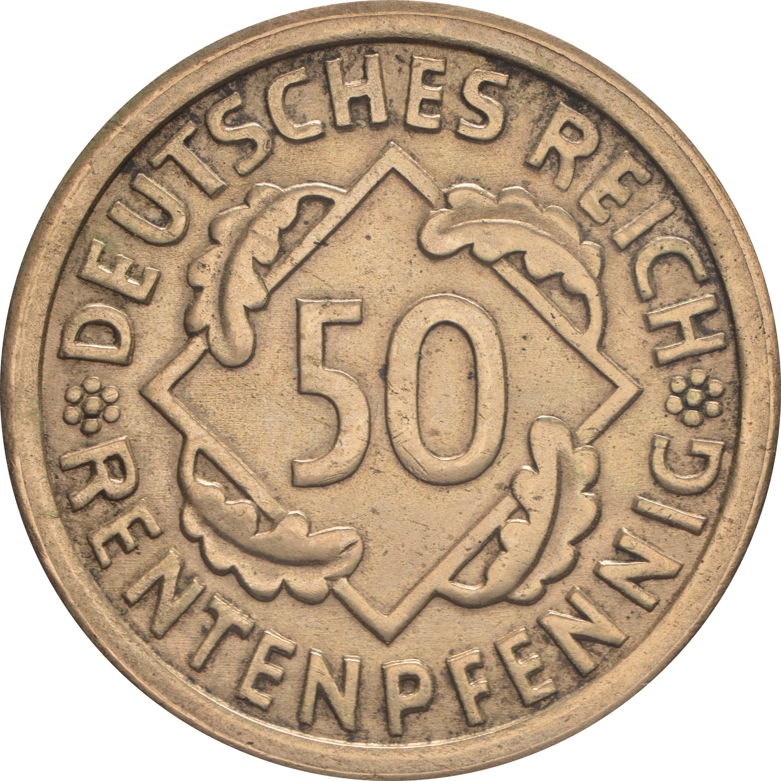 Vorderseite :Deutschland : 50 Rentenpfennig Kursmünze  1923 vz/Stgl.