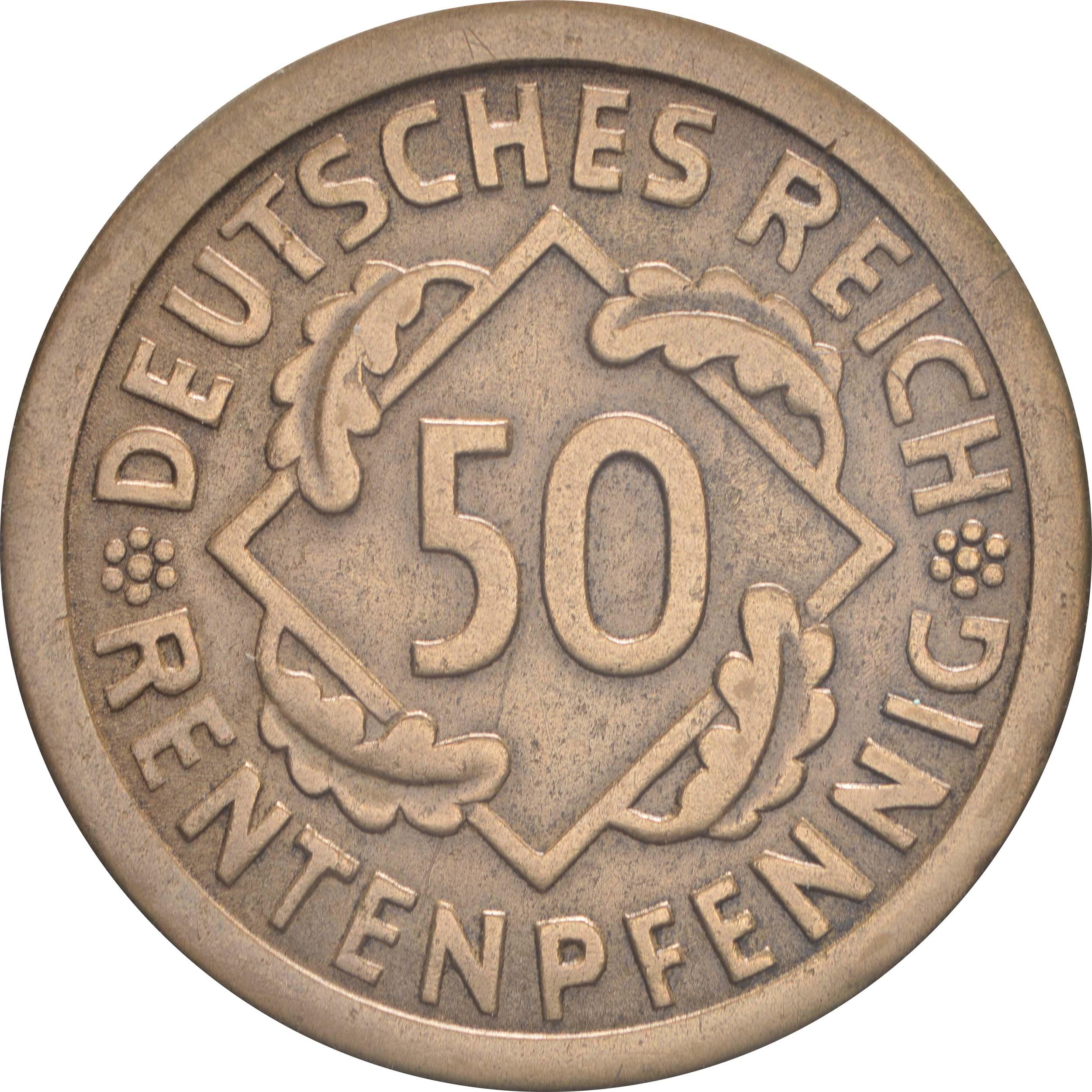Vorderseite:Deutschland : 50 Rentenpfennig Kursmünze  1923 vz.