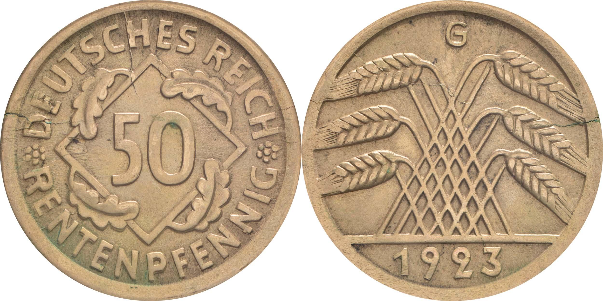 Deutschland : 50 Rentenpfennig Kursmünze  1923 vz/Stgl.