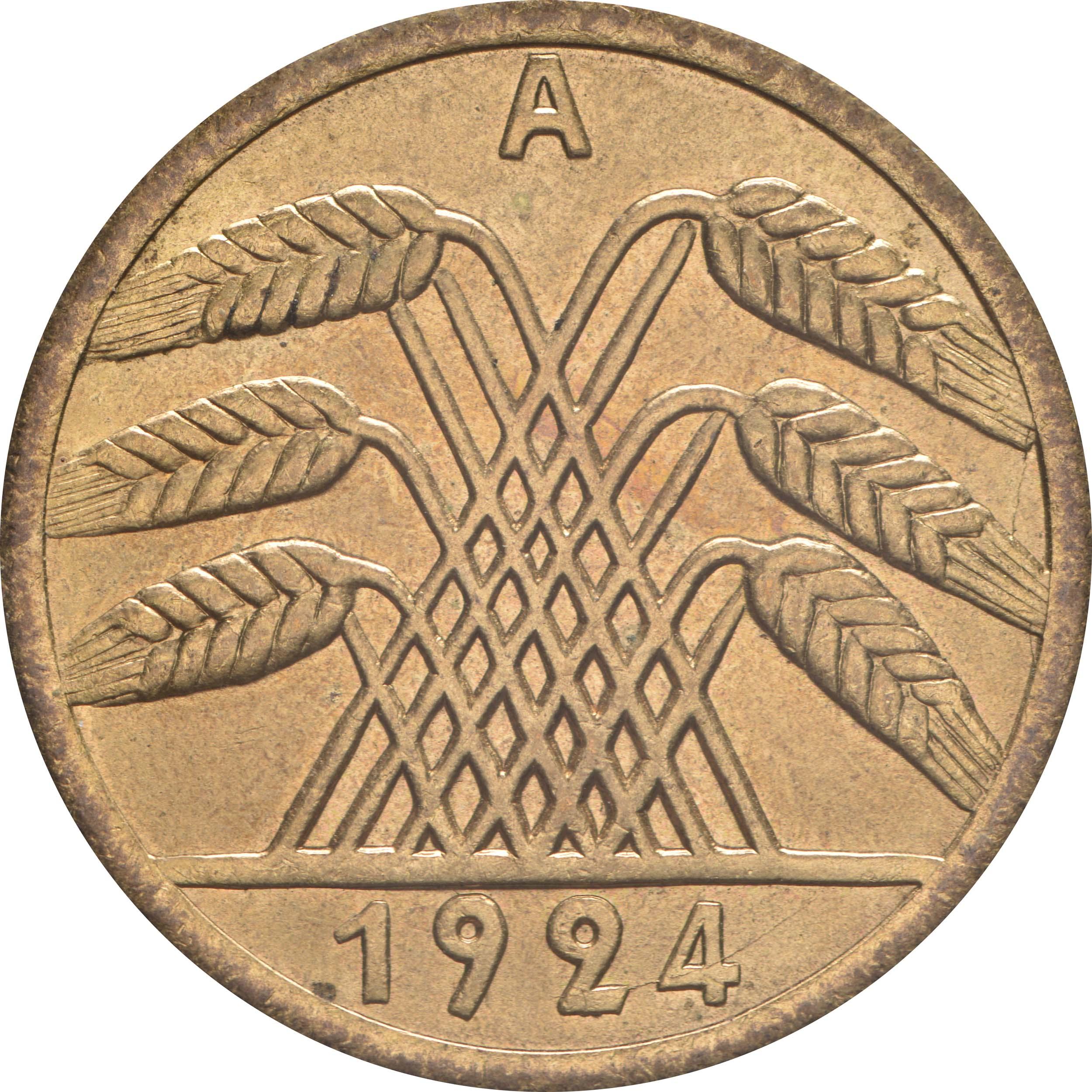 Rückseite:Deutschland : 50 Rentenpfennig Kursmünze  1924 Stgl.