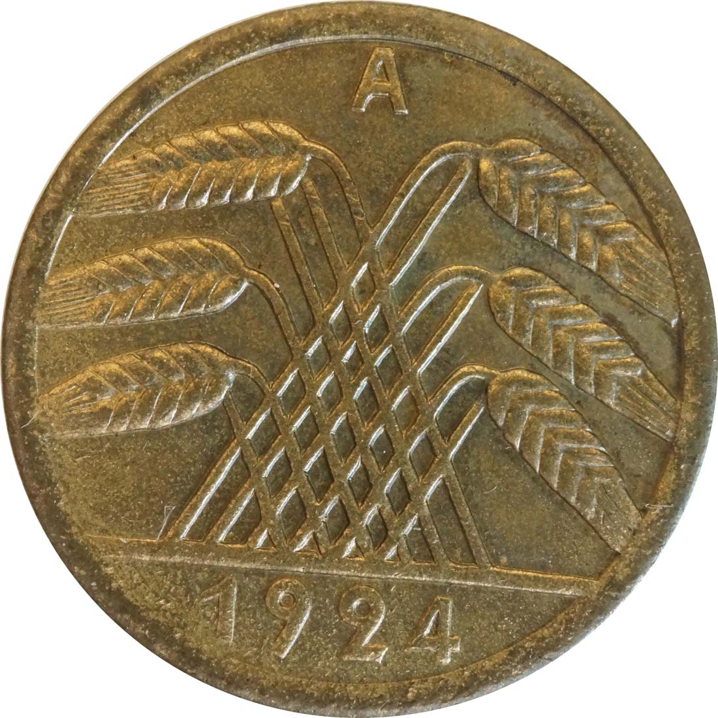 Rückseite:Deutschland : 50 Rentenpfennig Kursmünze  1924 vz/Stgl.