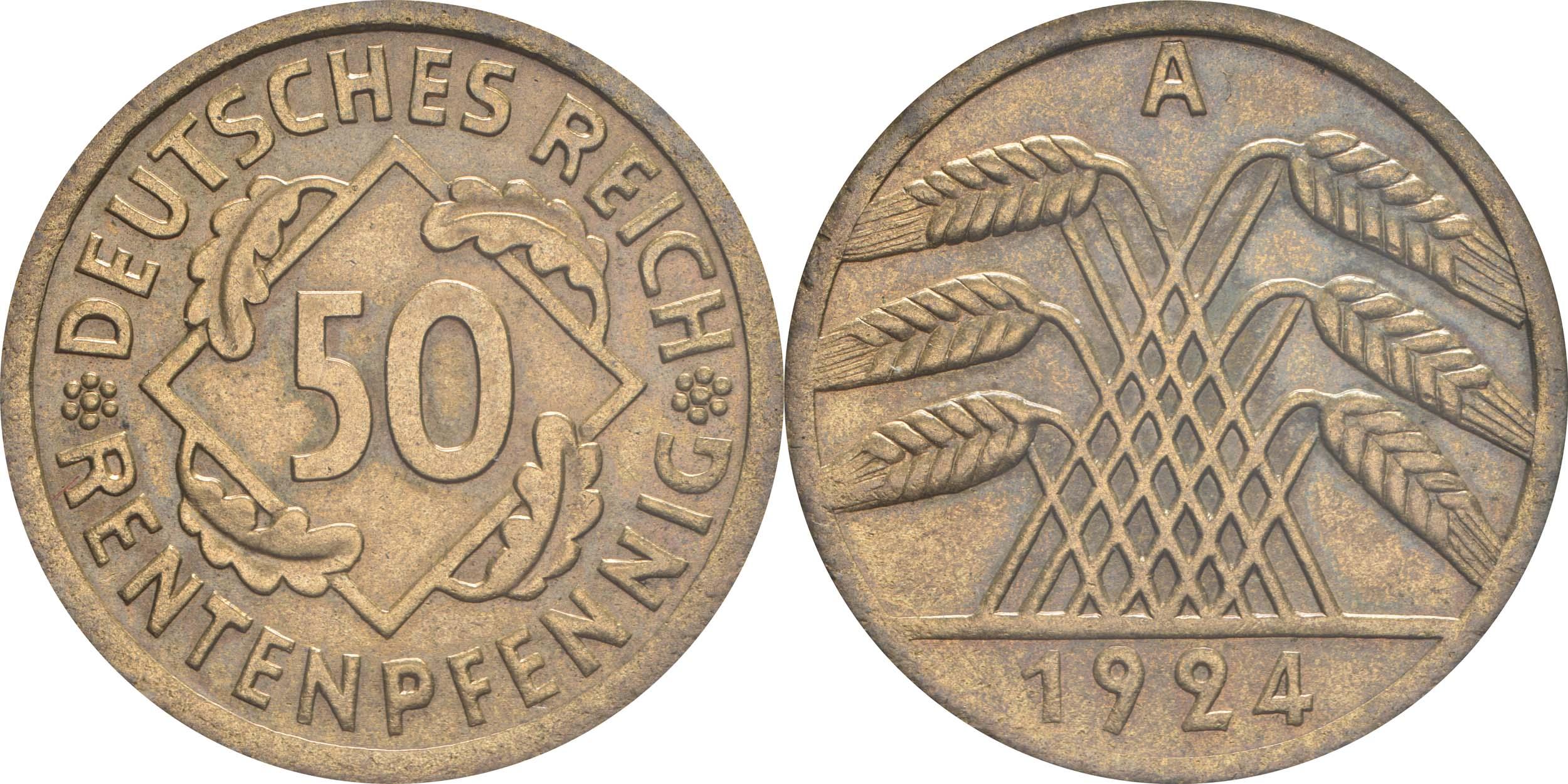 Deutschland : 50 Rentenpfennig Kursmünze  1924 vz/Stgl.