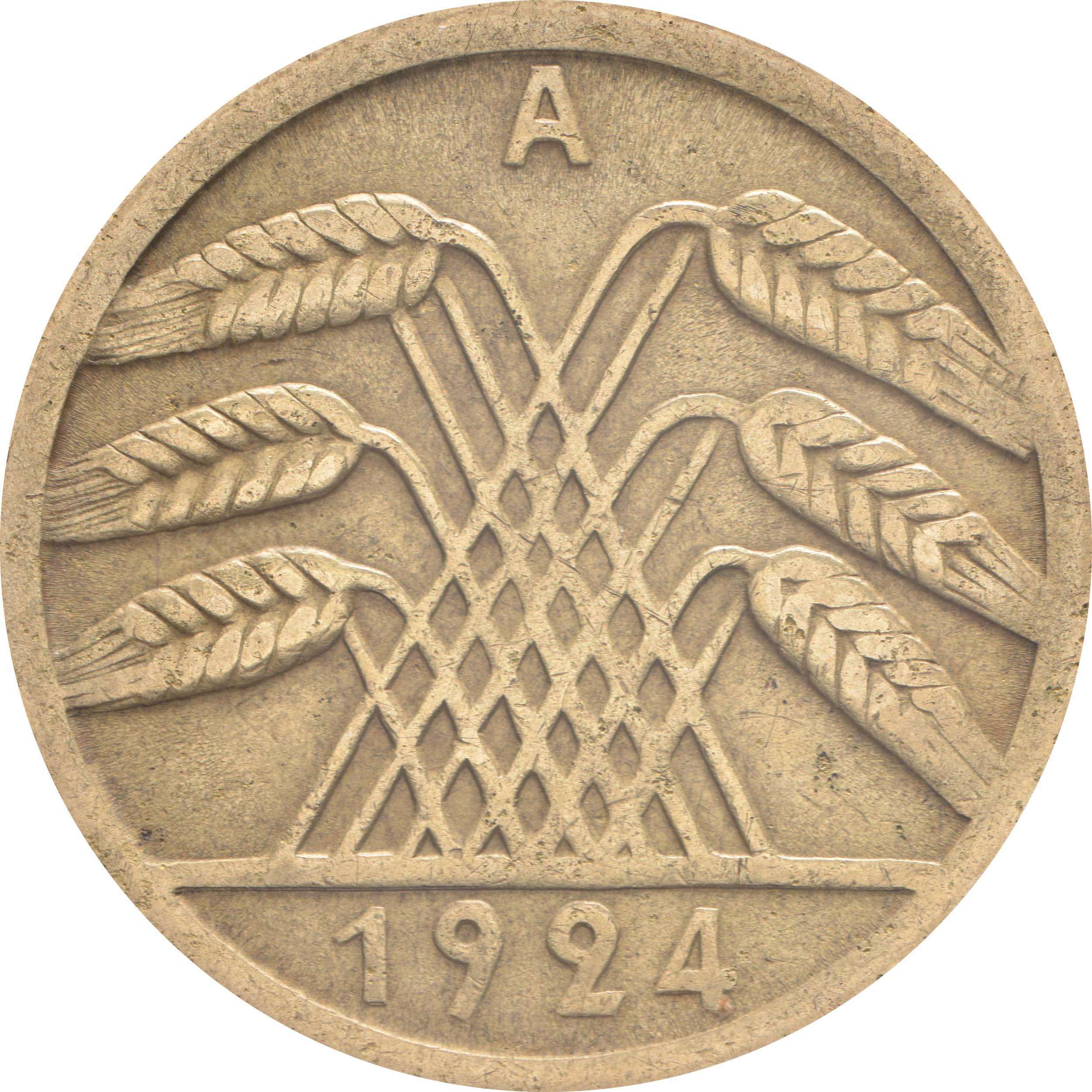 Rückseite:Deutschland : 50 Rentenpfennig Kursmünze  1924 ss.