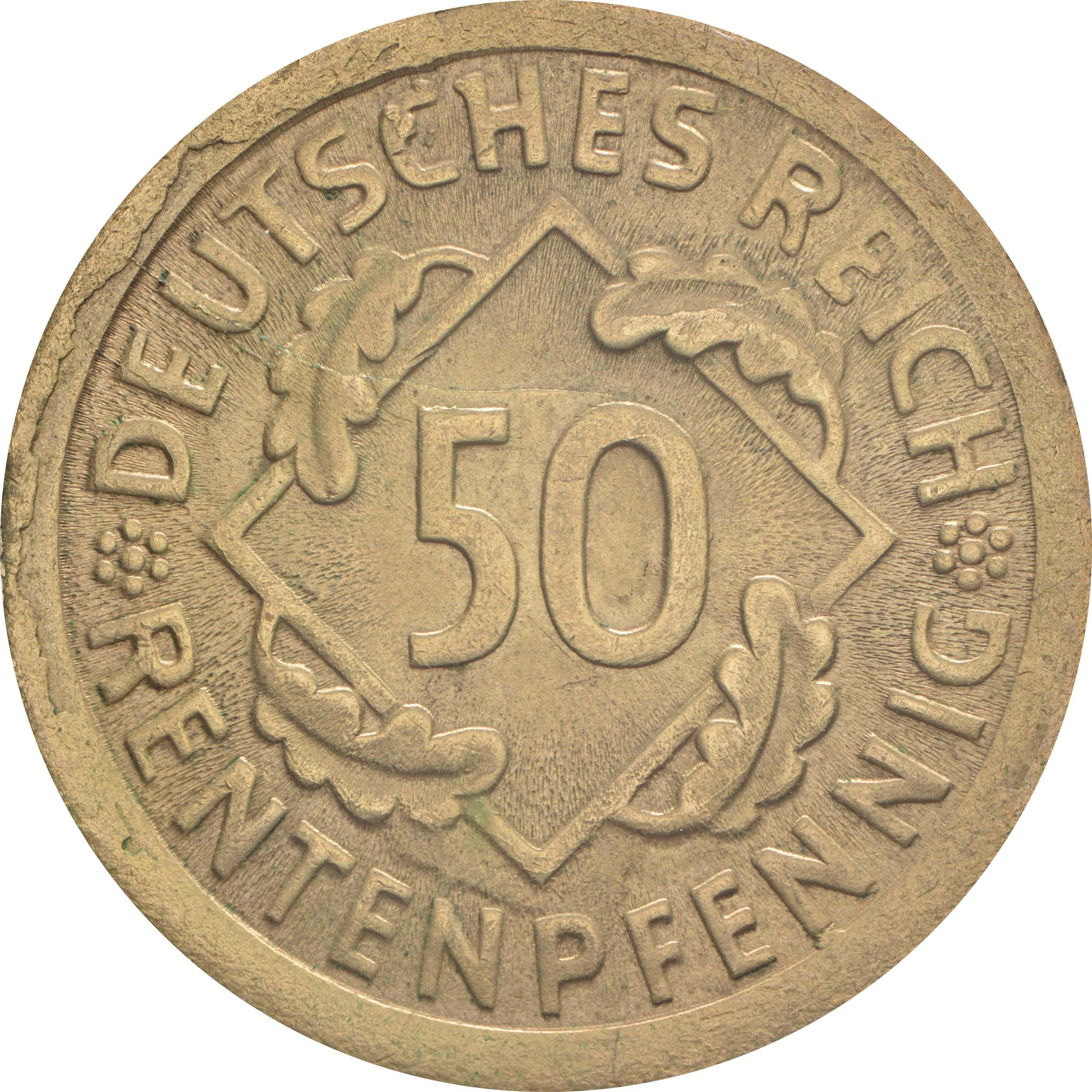 Vorderseite :Deutschland : 50 Rentenpfennig Kursmünze  1924 vz/Stgl.