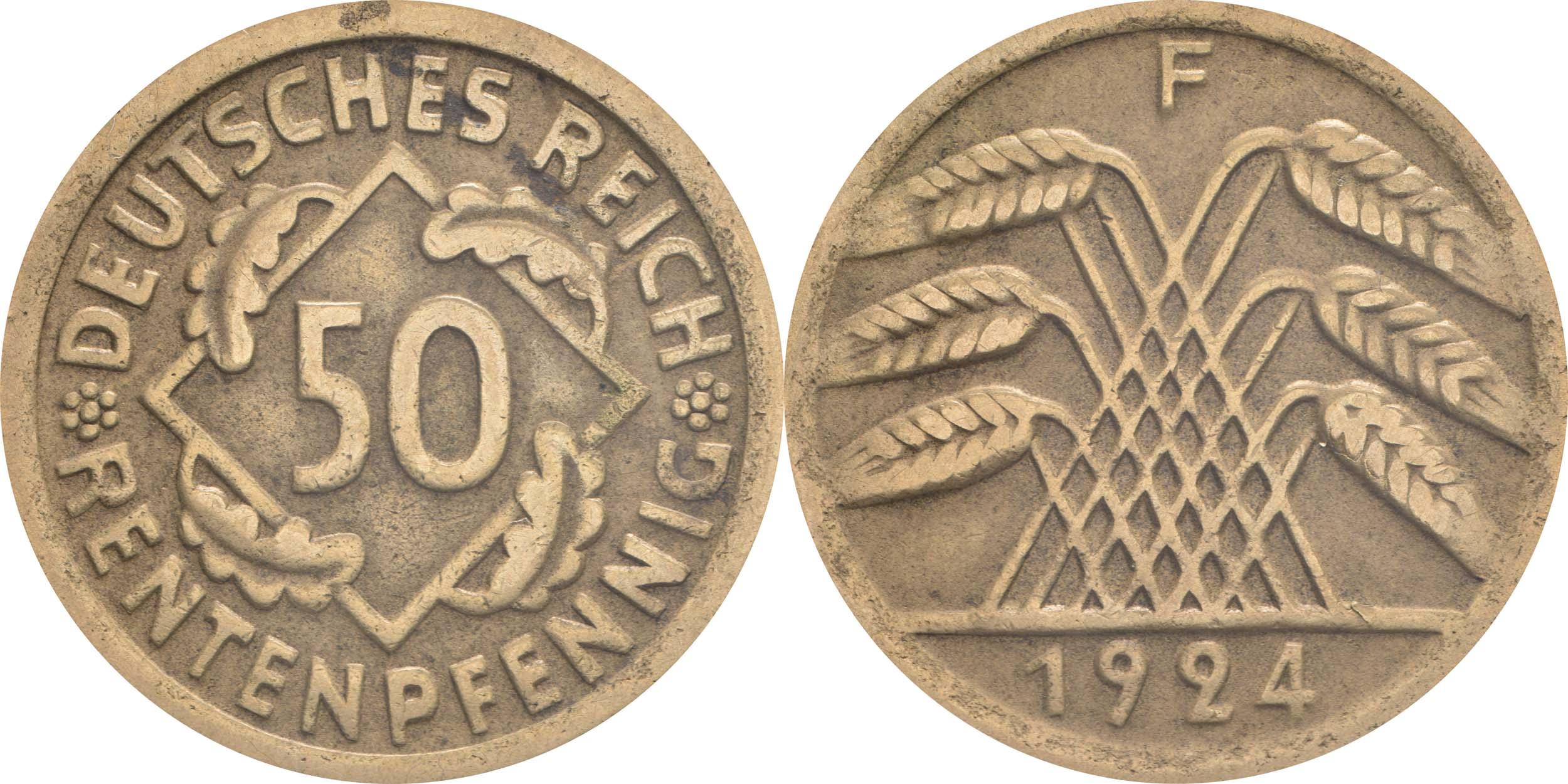 Übersicht:Deutschland : 50 Rentenpfennig Kursmünze  1924 ss.