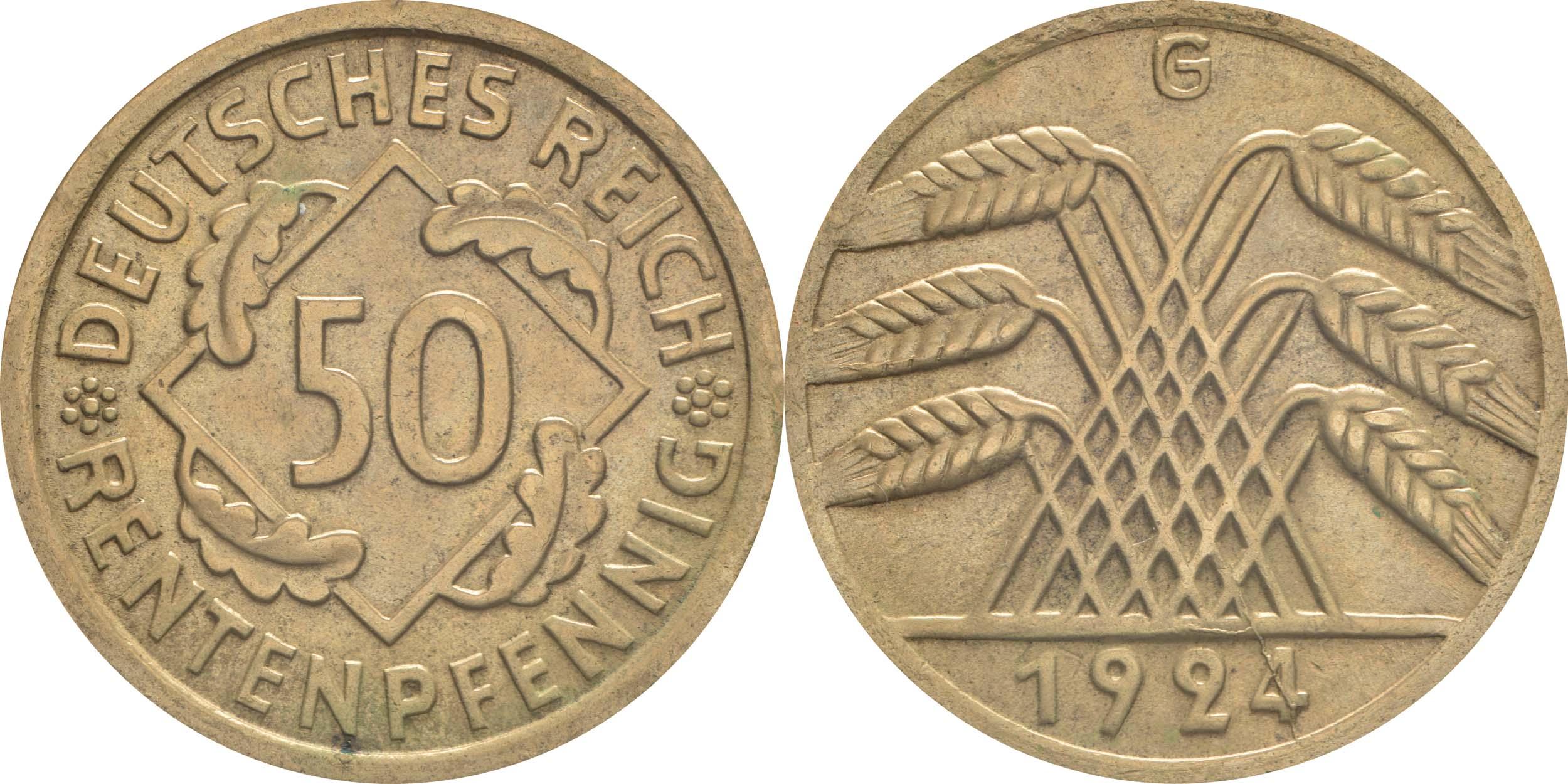 Lieferumfang:Deutschland : 50 Rentenpfennig Kursmünze  1924 vz.