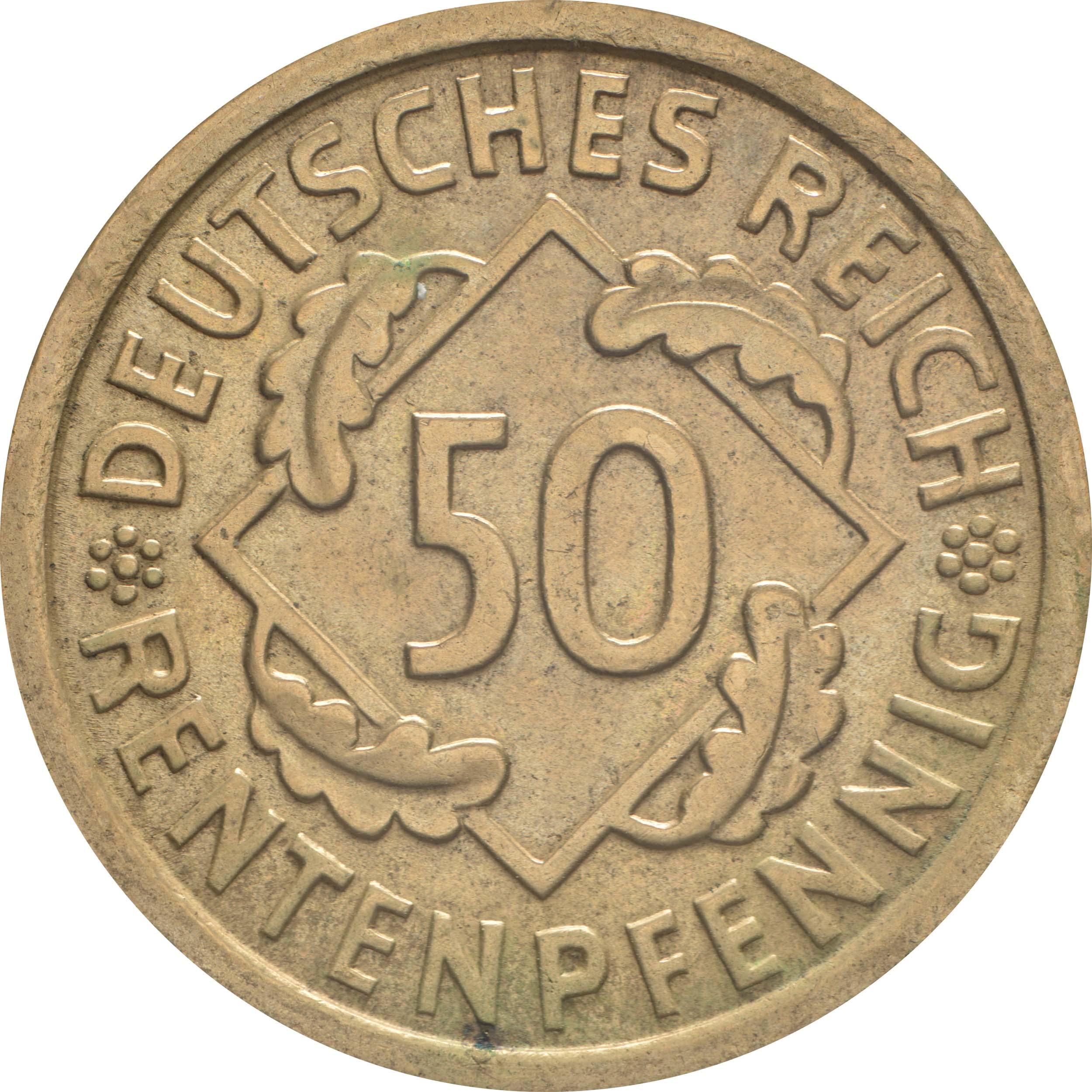 Vorderseite:Deutschland : 50 Rentenpfennig Kursmünze  1924 vz.
