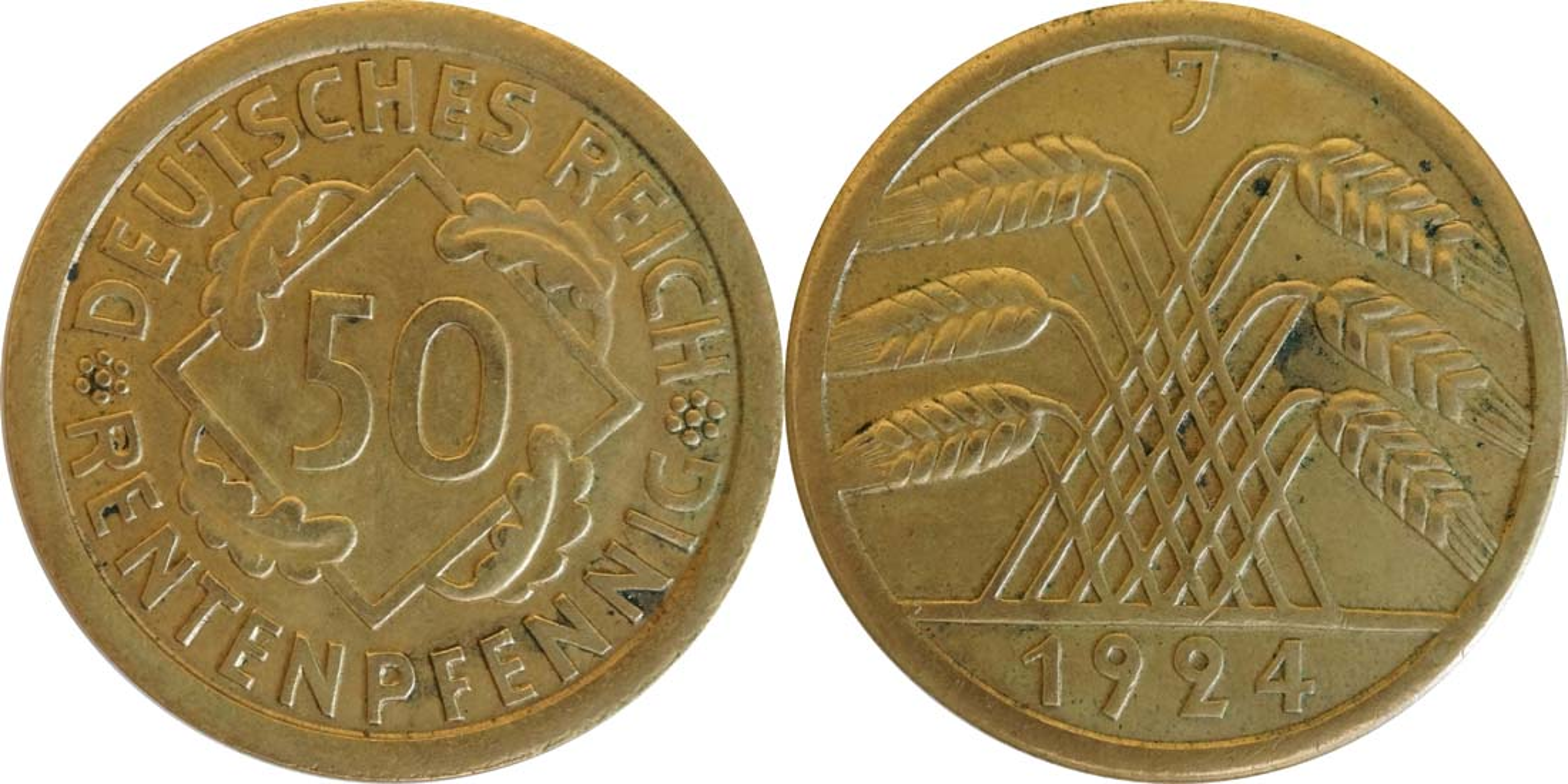 Deutschland : 50 Rentenpfennig Kursmünze  1924 vz.