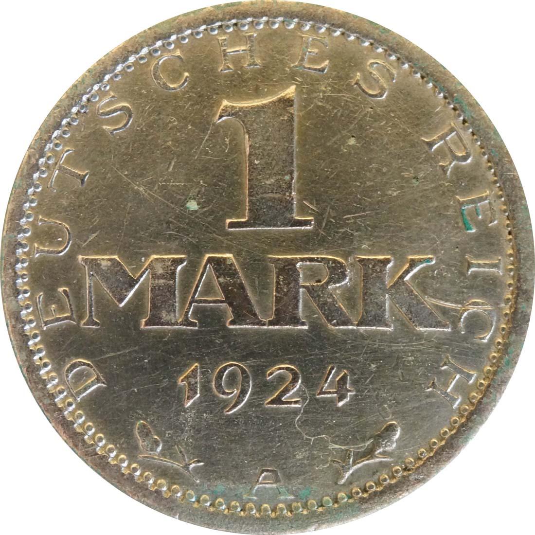 Vorderseite :Deutschland : 1 Mark Kursmünze  1924 ss.