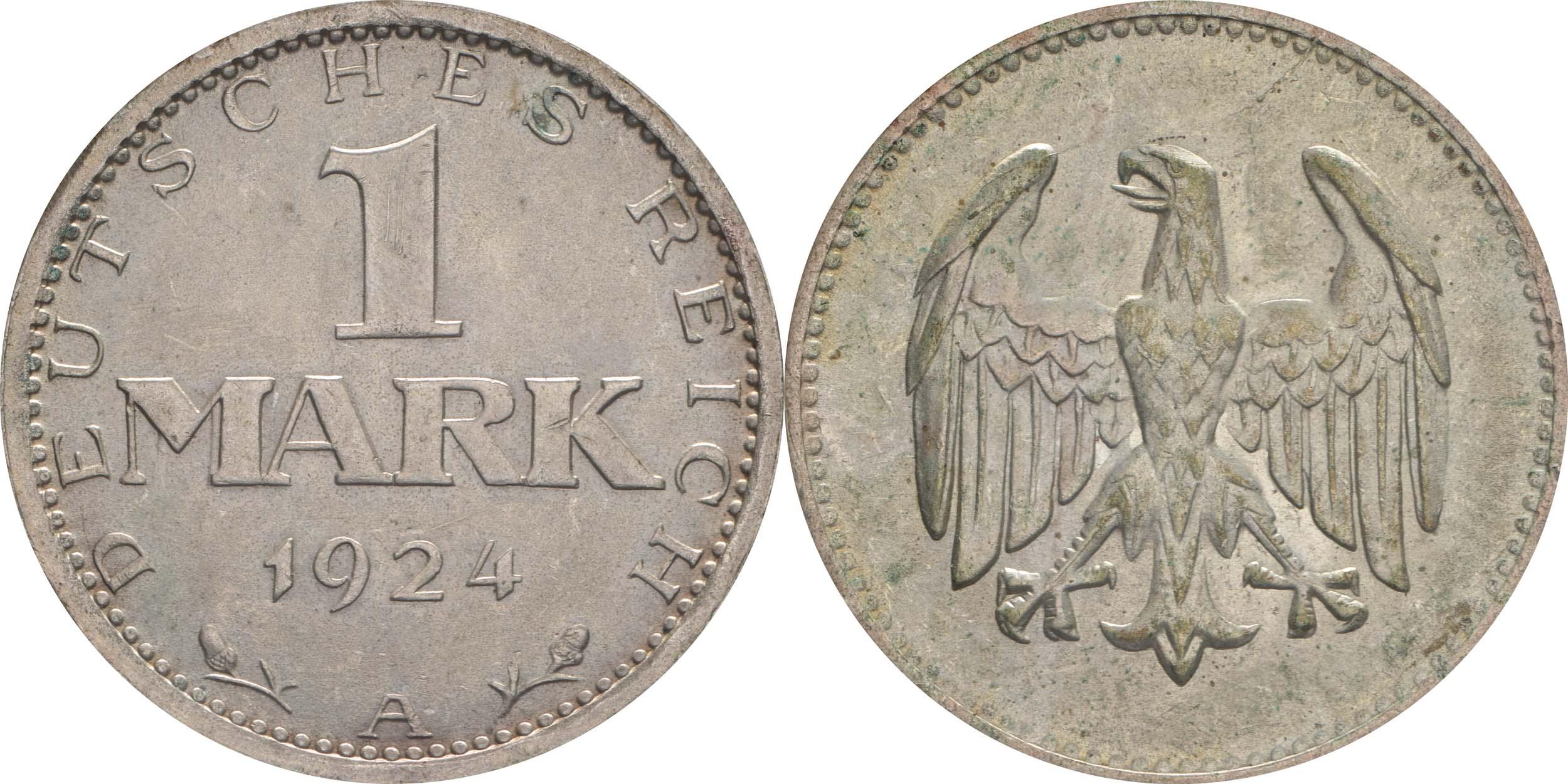 Deutschland : 1 Mark Kursmünze  1924 vz/Stgl.