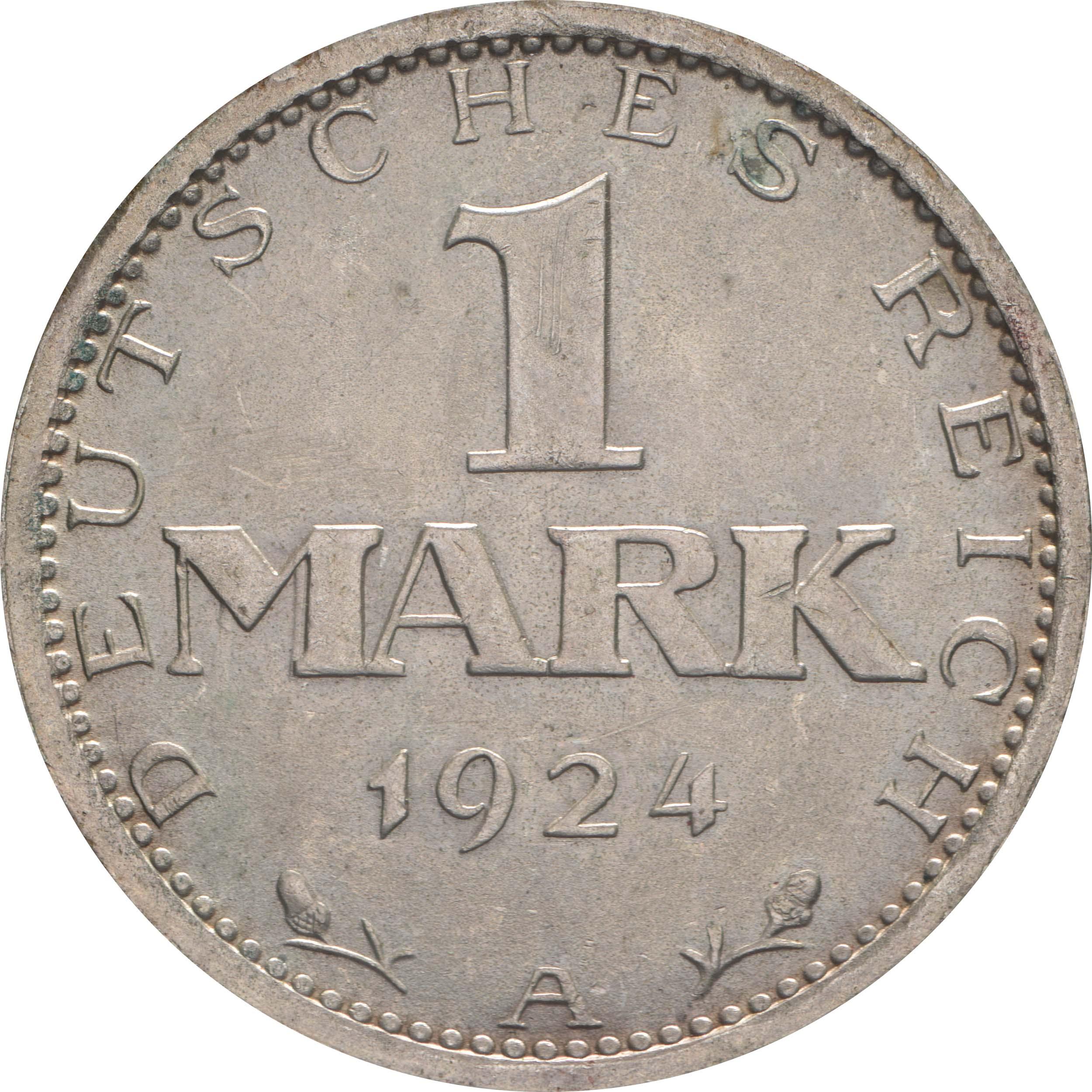 Vorderseite:Deutschland : 1 Mark Kursmünze  1924 vz/Stgl.