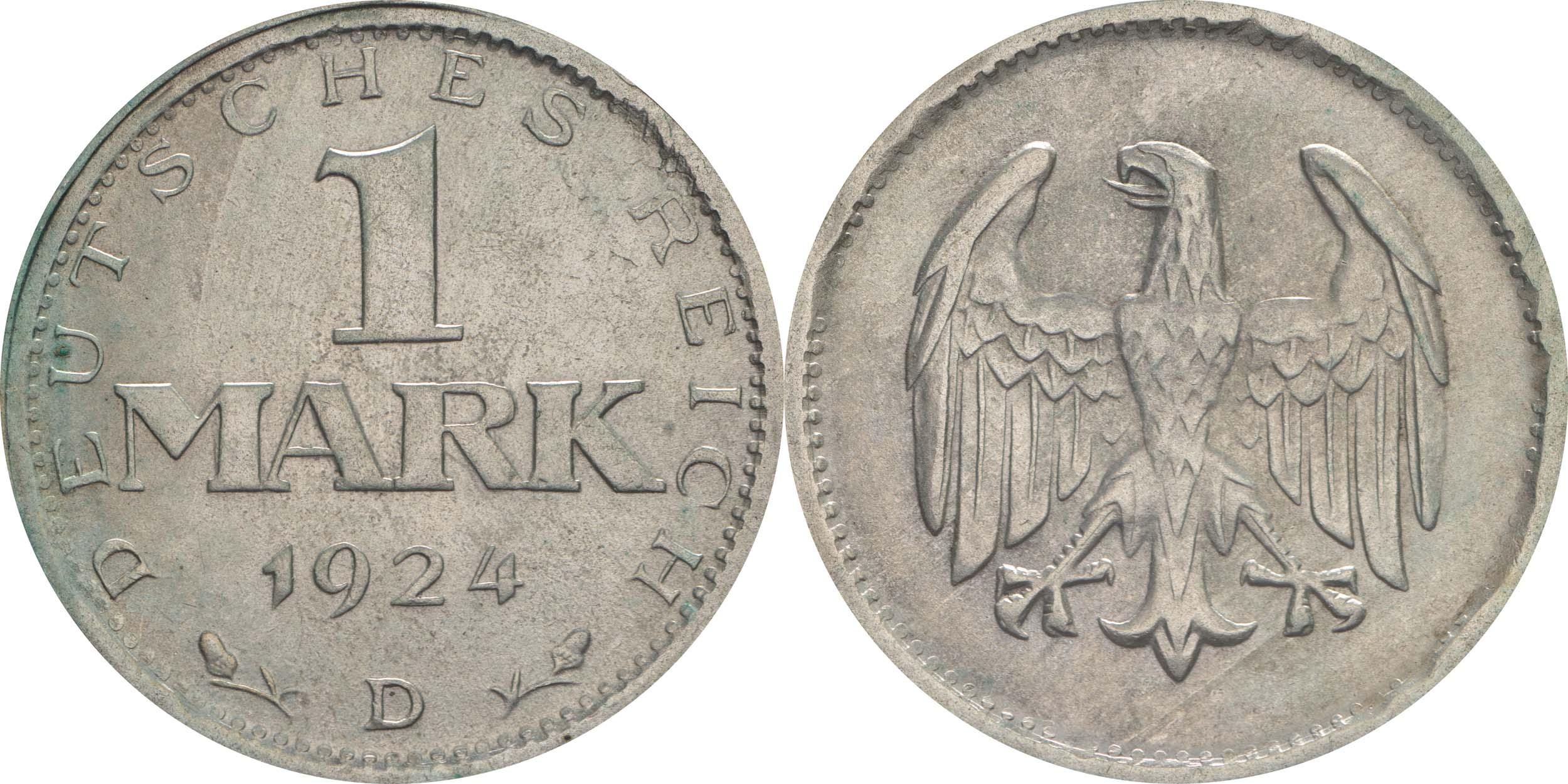 Deutschland : 1 Mark Kursmünze  1924 vz.
