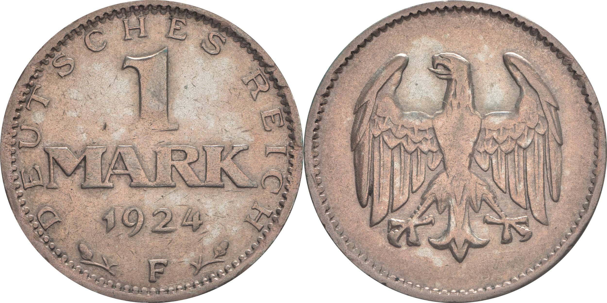 Deutschland : 1 Mark Kursmünze  1924 ss.